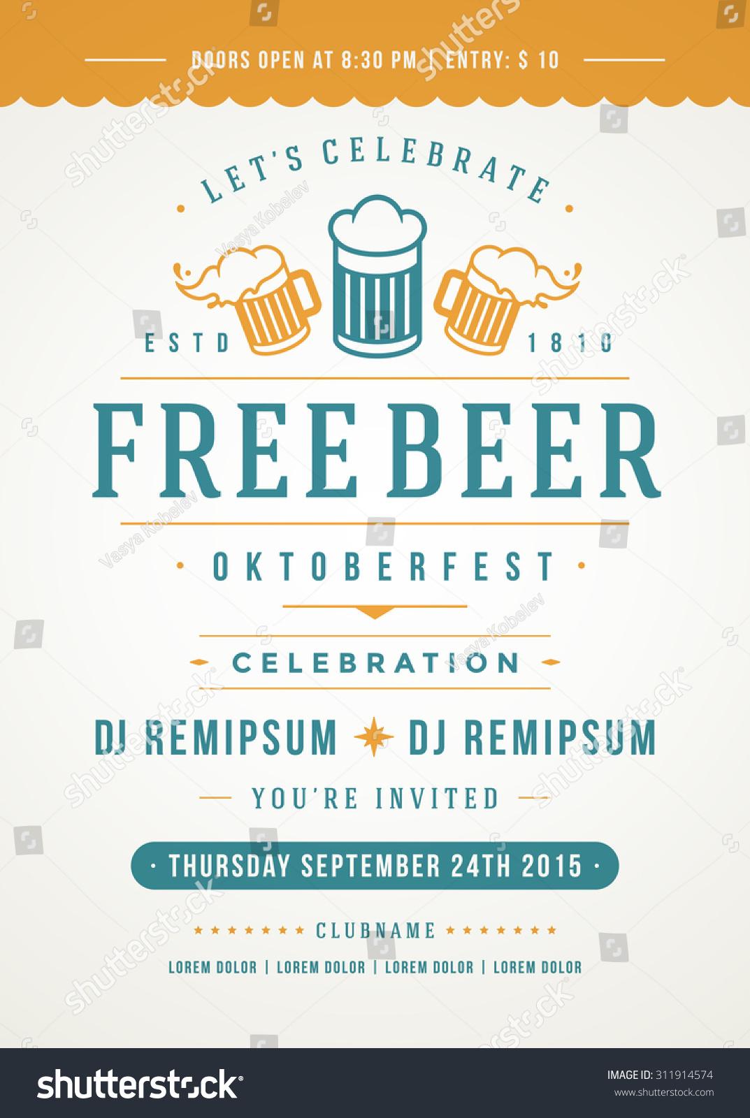 Oktoberfest Beer Festival Celebration Retro Typography Stock ...