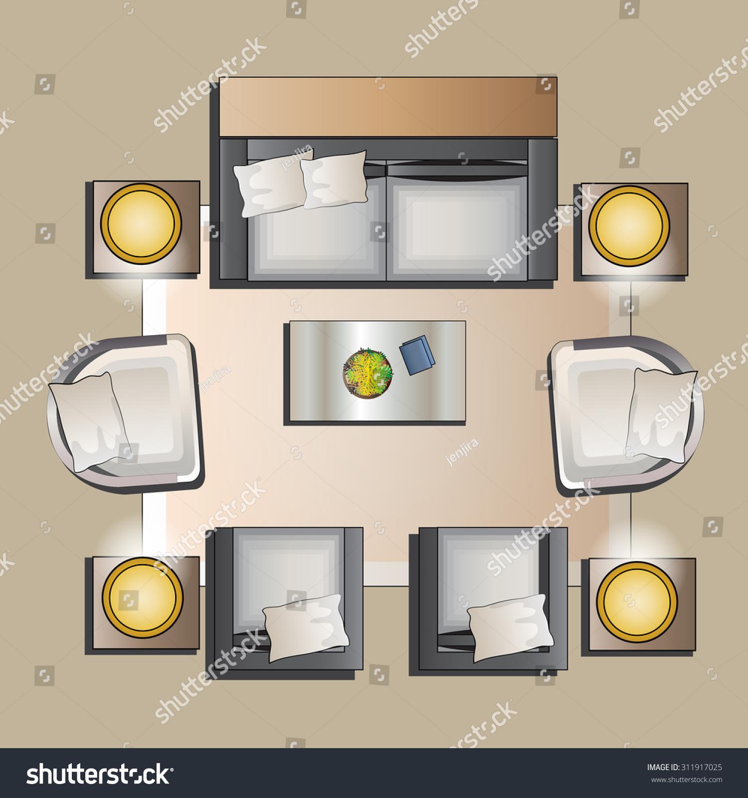Living Room Furniture Top View Set Stock Vector 311917025