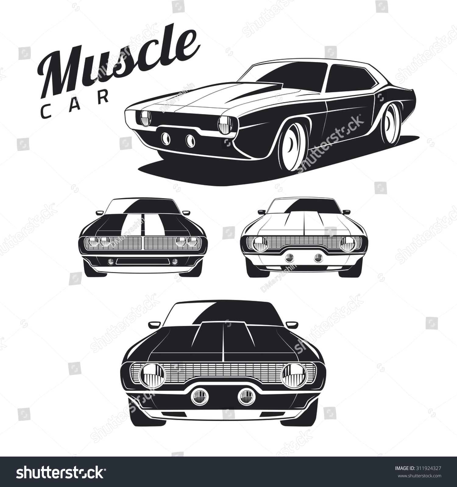 Royalty Free Set Of Muscle Car Illustrations Stock