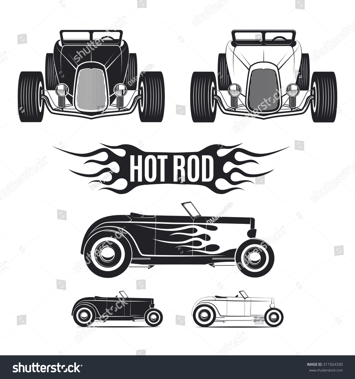 hot rod car illustrations isolated on imagem vetorial de. Black Bedroom Furniture Sets. Home Design Ideas