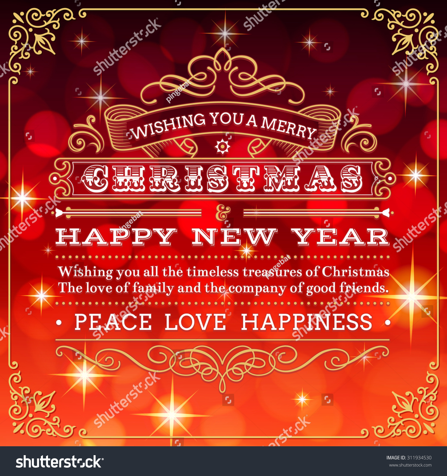 Nice Christmas Greeting Card Red Background Stock Vector (Royalty ...