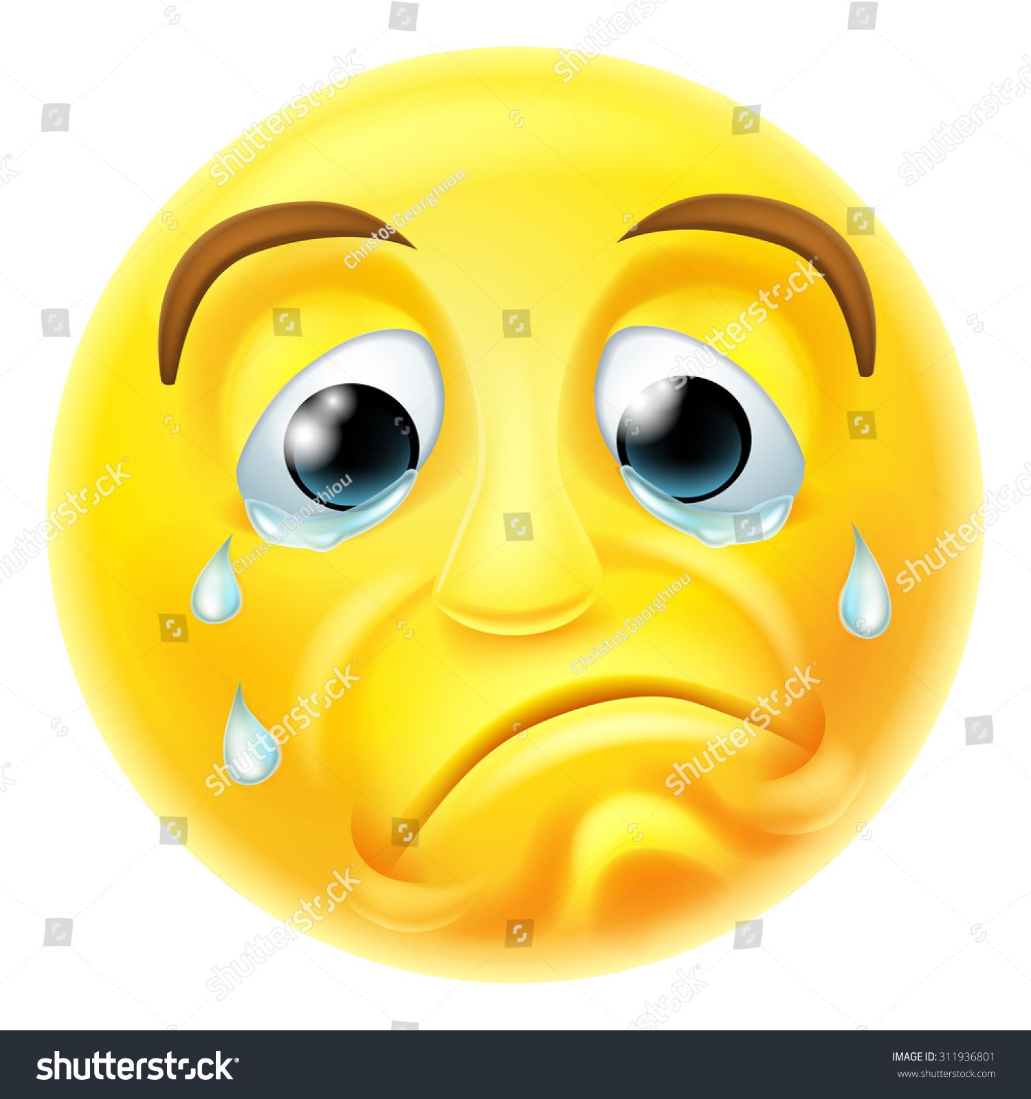 Sad Crying Emoji Emoticon Smiley Face Stock Vector