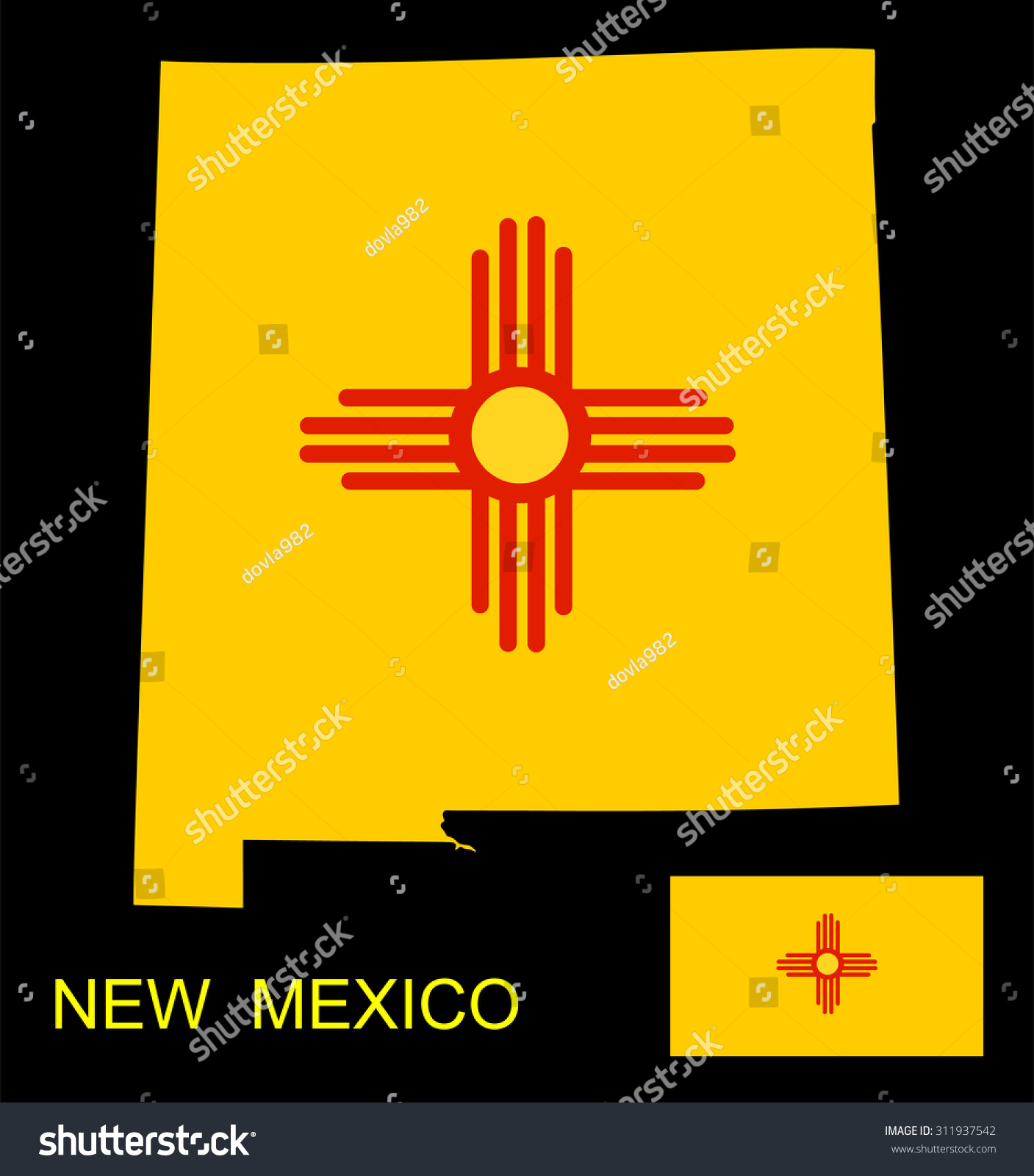 Map flag state new mexico vector stock vector 311937542 shutterstock map and flag of the state of new mexico vector illustration isolated on black background buycottarizona