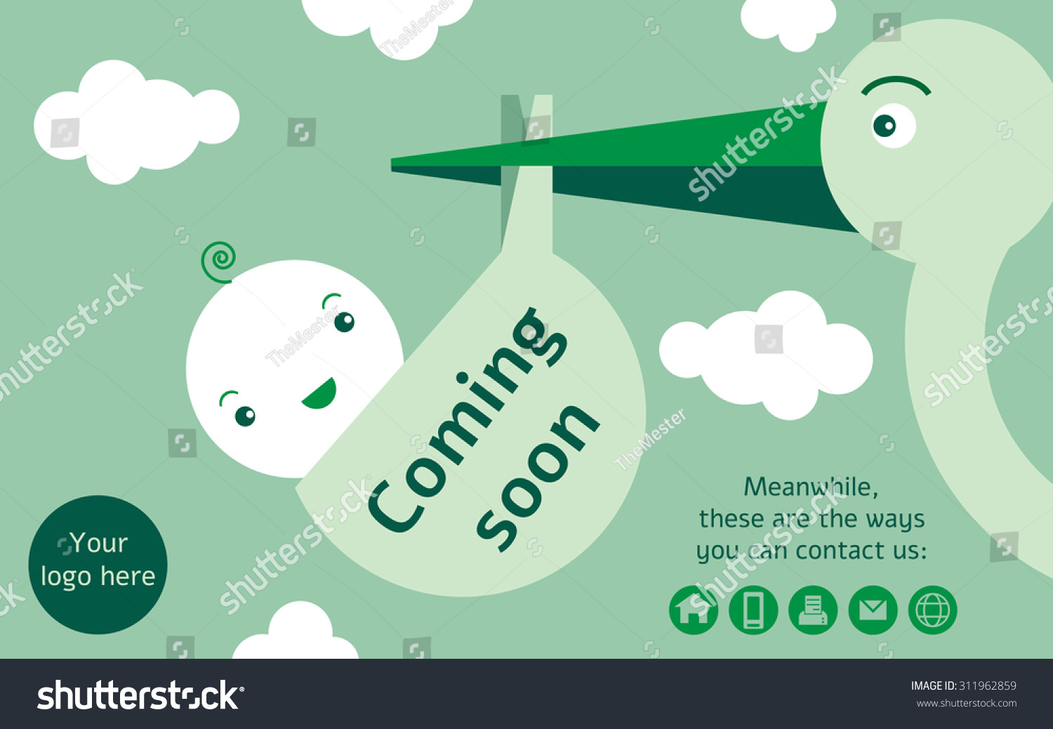Stork Holding A Baby In A Sack Coming Soon Page For A Newborn Website And  Also