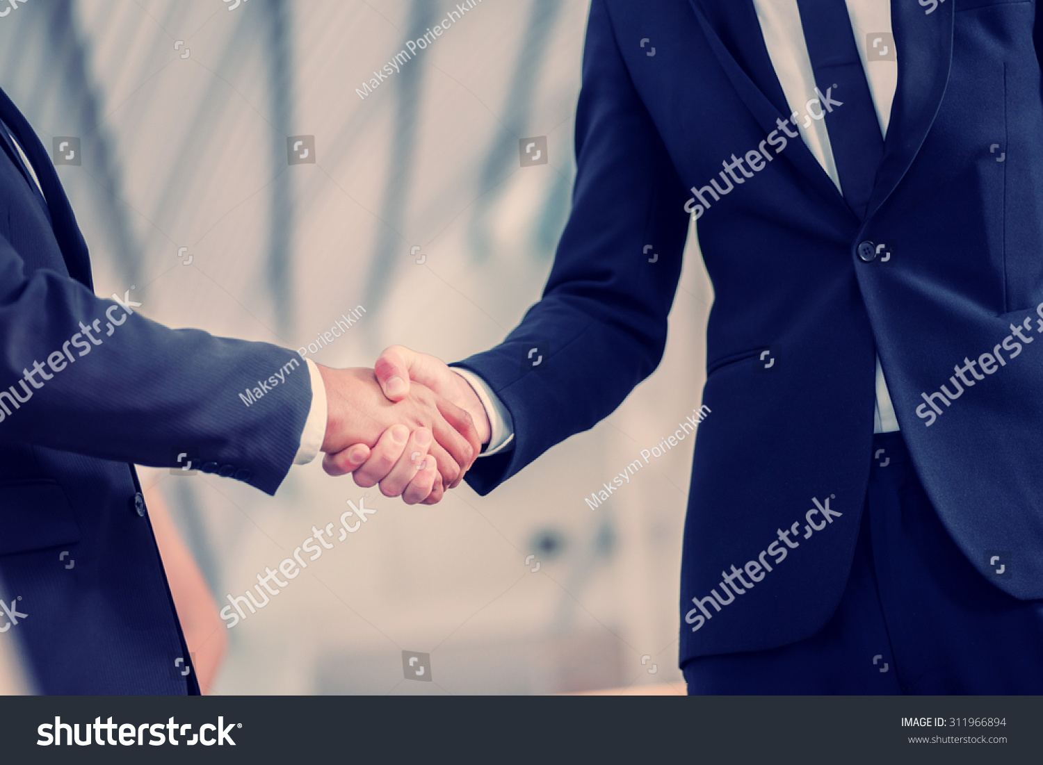 welcoming business partners handshake two successful stock