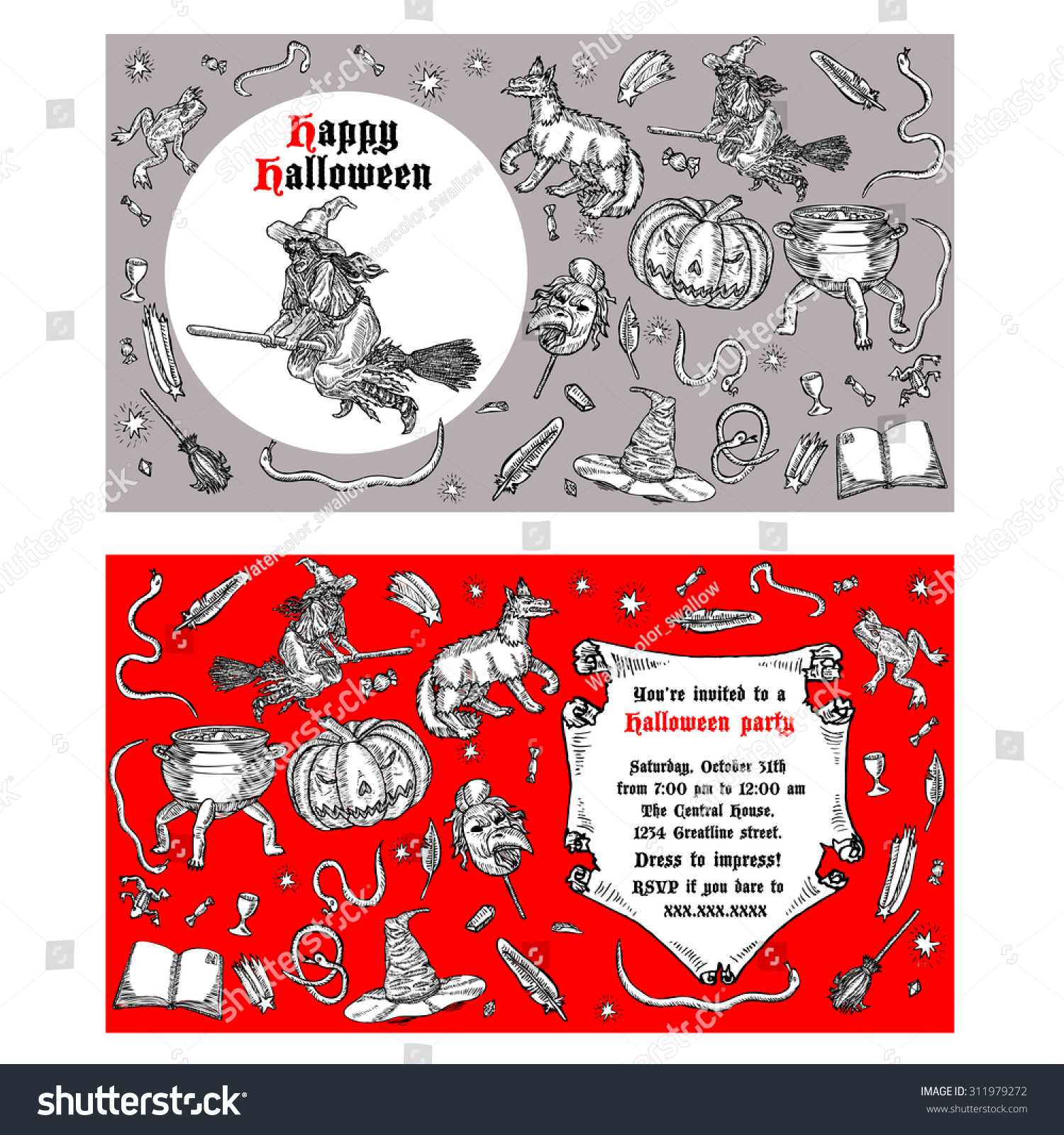 Medieval Engraving Style Halloween Invitation Ink Stock Vector ...
