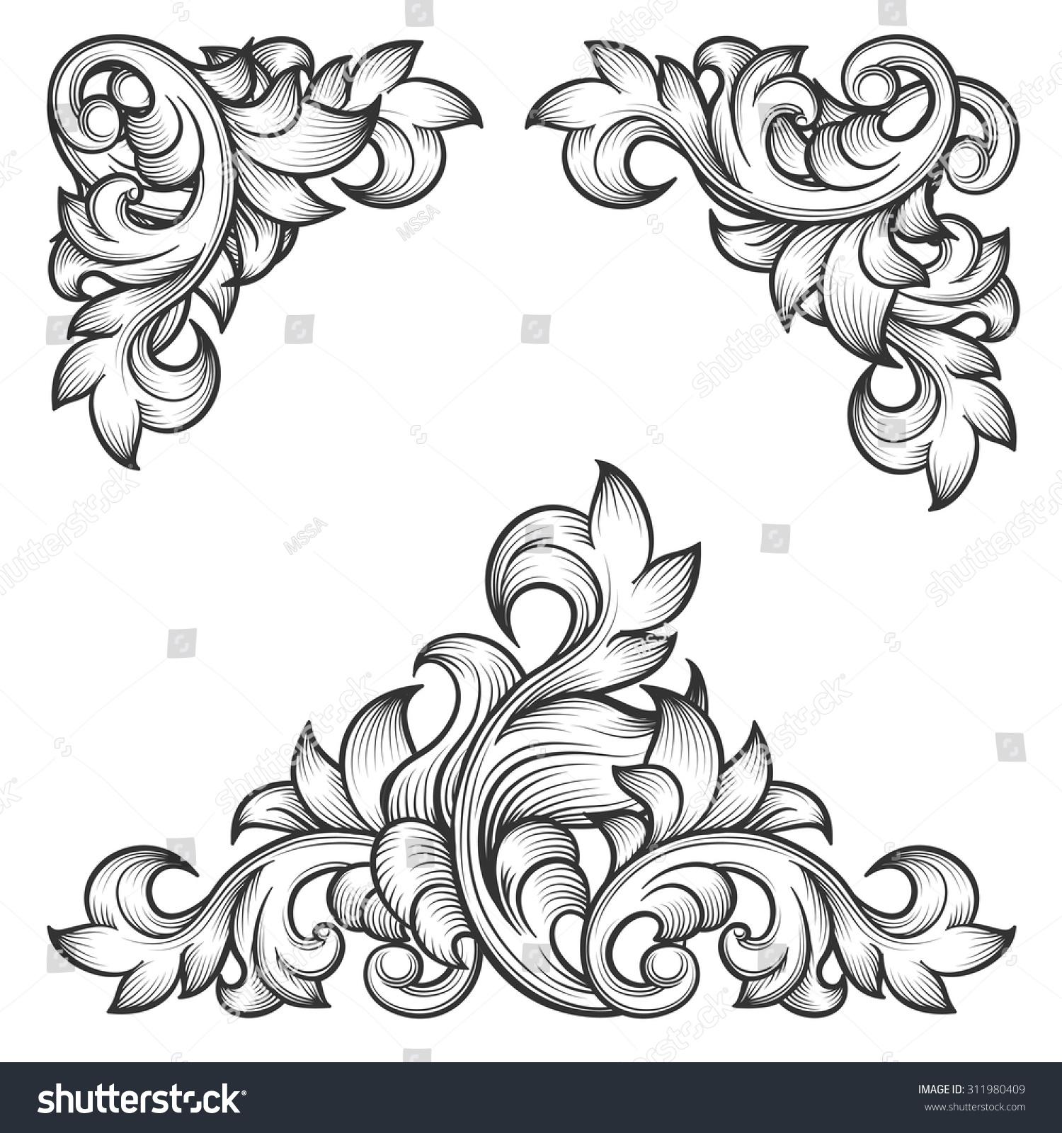 baroque leaf frame swirl decorative design stock vector. Black Bedroom Furniture Sets. Home Design Ideas