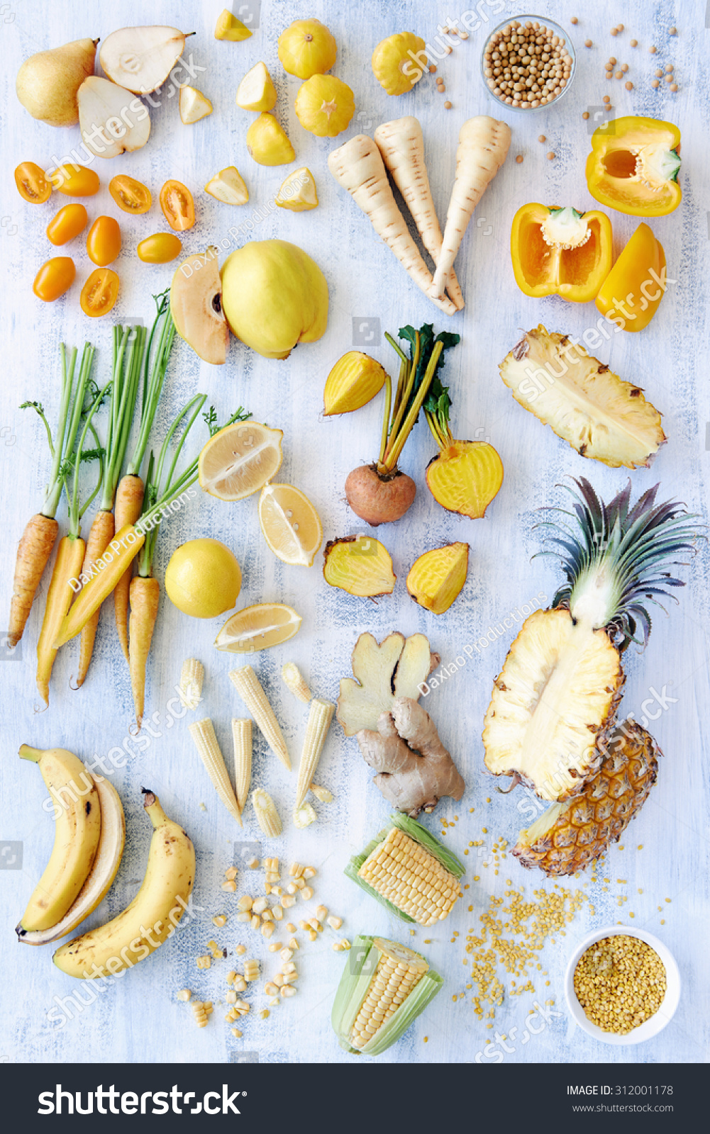 A Selection Of Various Fresh Yellow Raw Organic Produce ...
