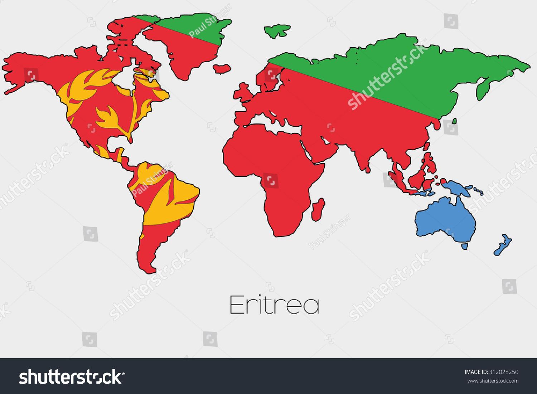 Eritrea map on a world daylight savings map flag illustration inside shape world map stock illustration stock photo a flag illustration inside the shape of a world map of the country of eritrea gumiabroncs Gallery