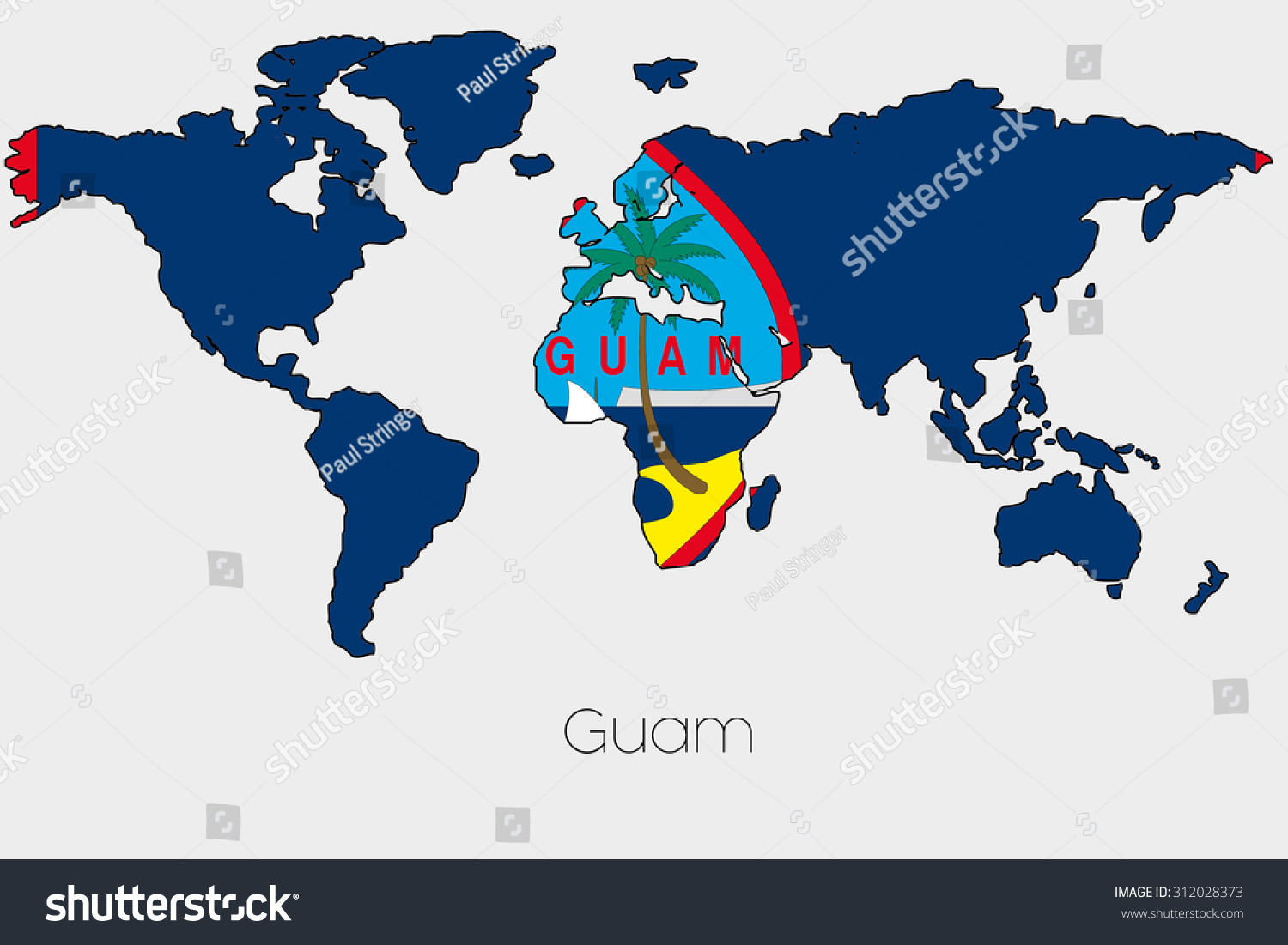 Flag illustration inside shape world map stock illustration a flag illustration inside the shape of a world map of the country of guam gumiabroncs Choice Image