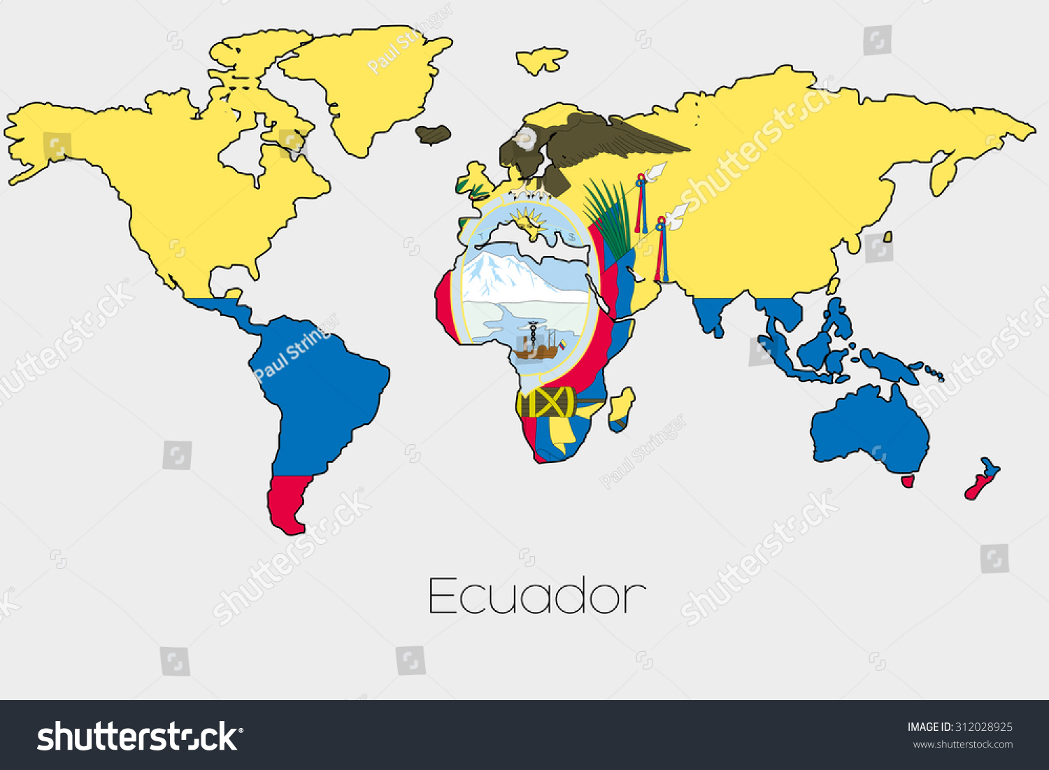 Flag Illustration Inside Shape World Map Stock Illustration - Map of ecuador world