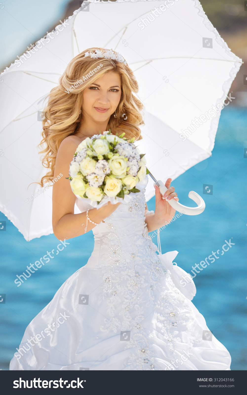 Beautiful Bride Girl Wedding Dress White Stock Photo (Edit Now ...