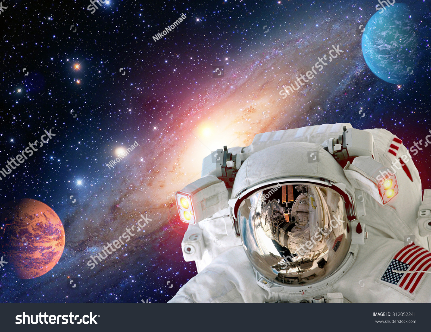 Astronaut spaceman helmet outer space solar stock photo for Outer space elements