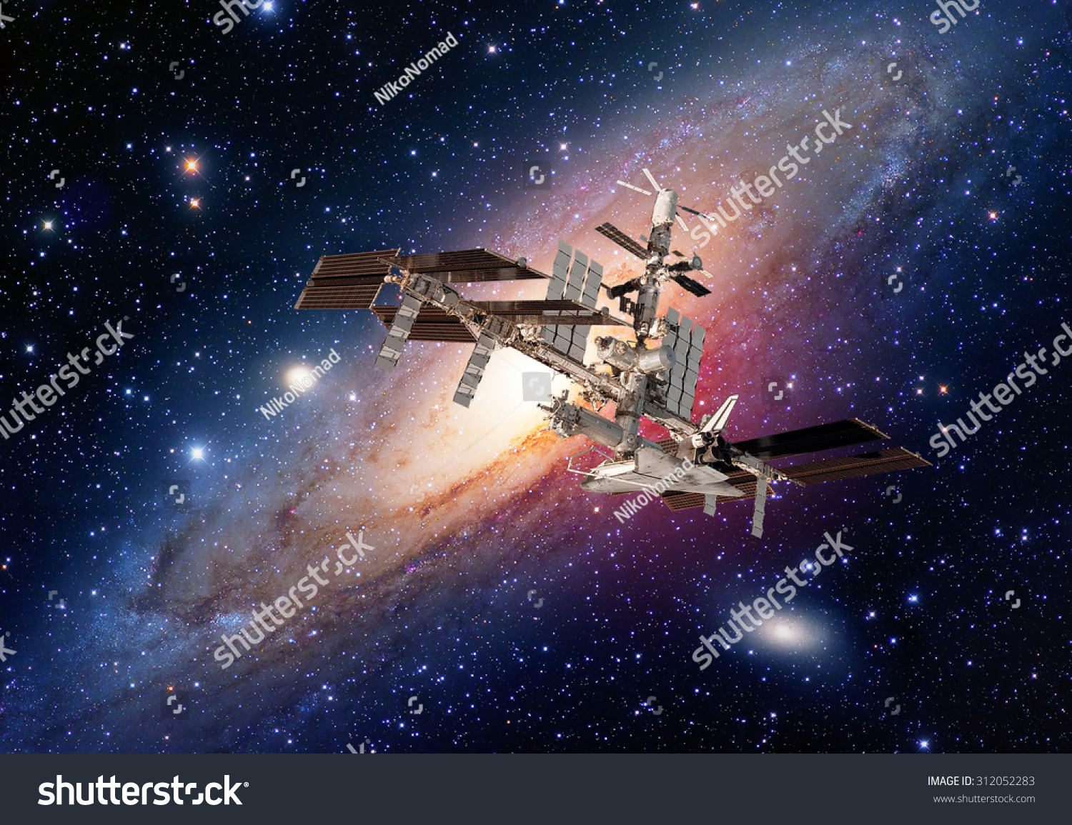 Satellite space station spaceship spacecraft outer galaxy universe Elements of this image furnished by NASA