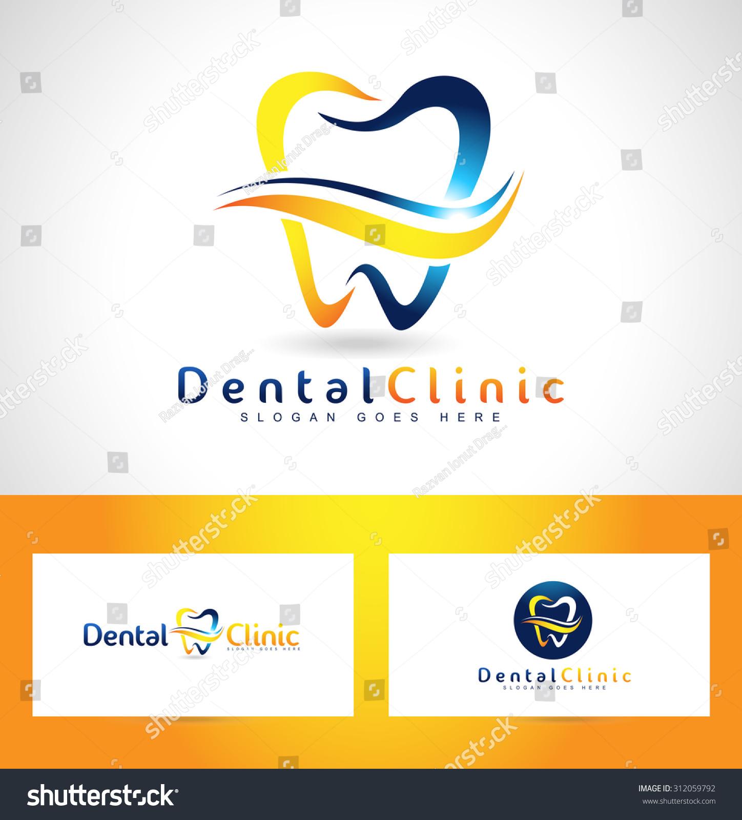 Dental care logo design business card stock vector 312059792 dental care logo design with business card template reheart Gallery