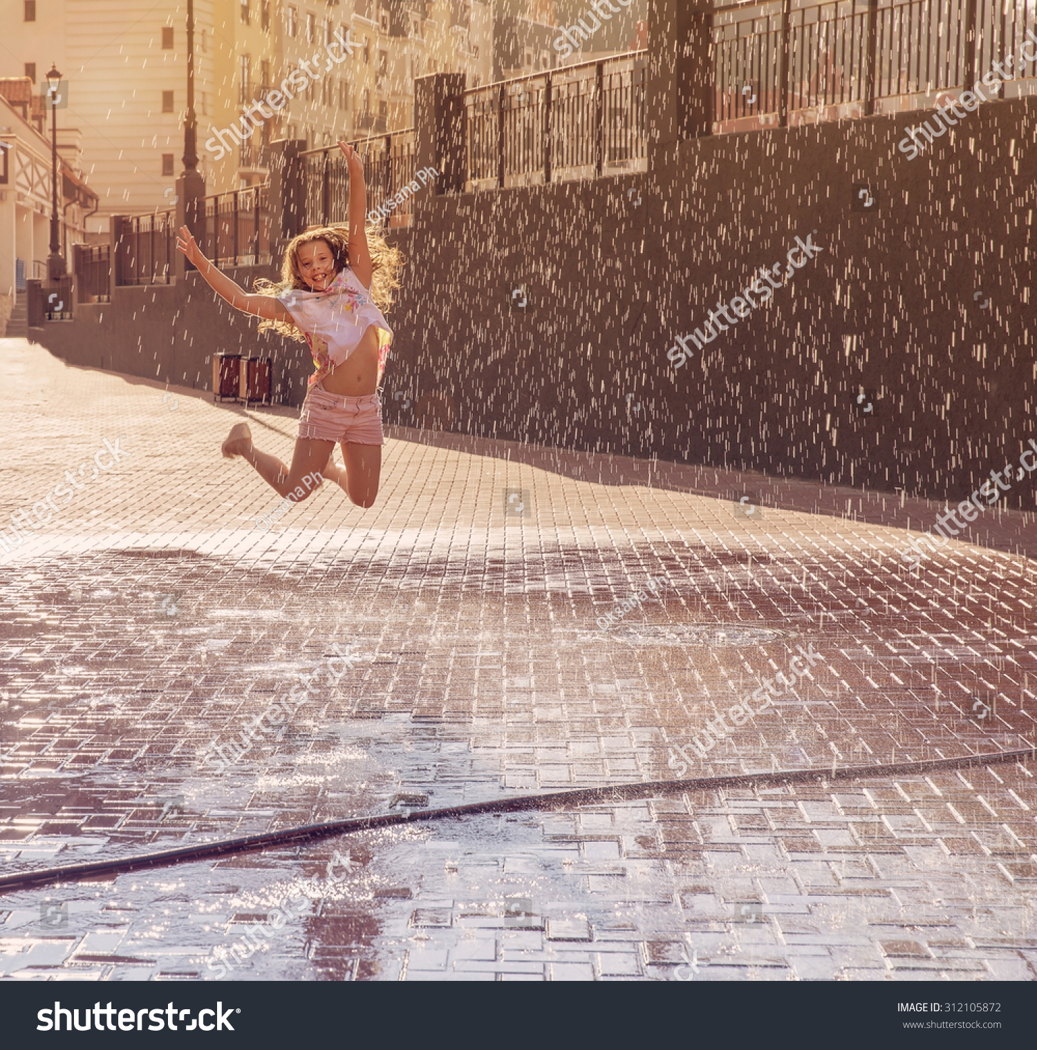 a95fd9336fdd Happy Beautiful Girl Jumping Spray Water Stock Photo (Edit Now ...