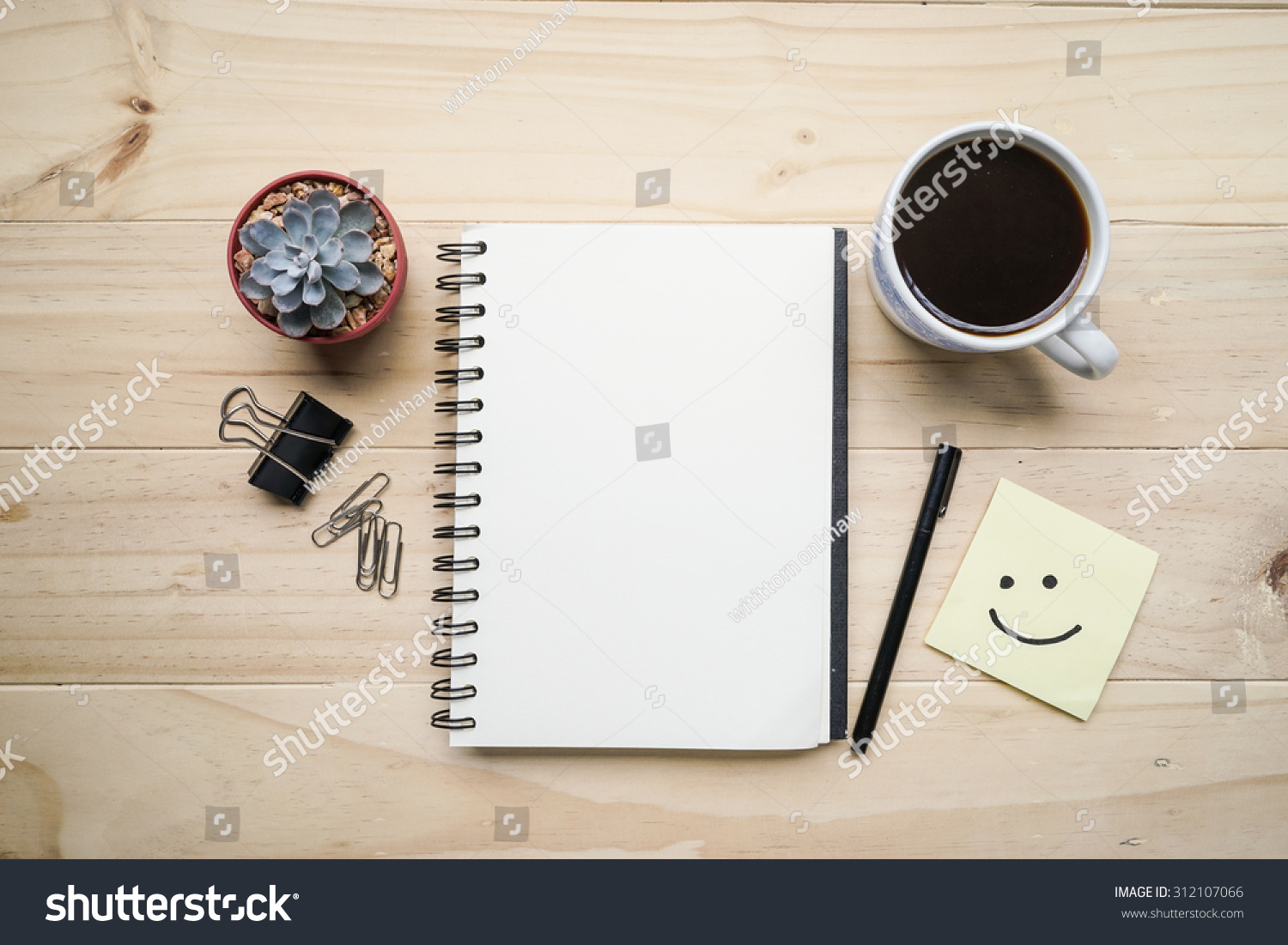blank opened notebook cup coffee memo stock photo 312107066 blank opened notebook cup of coffee and memo note on wooden table top view