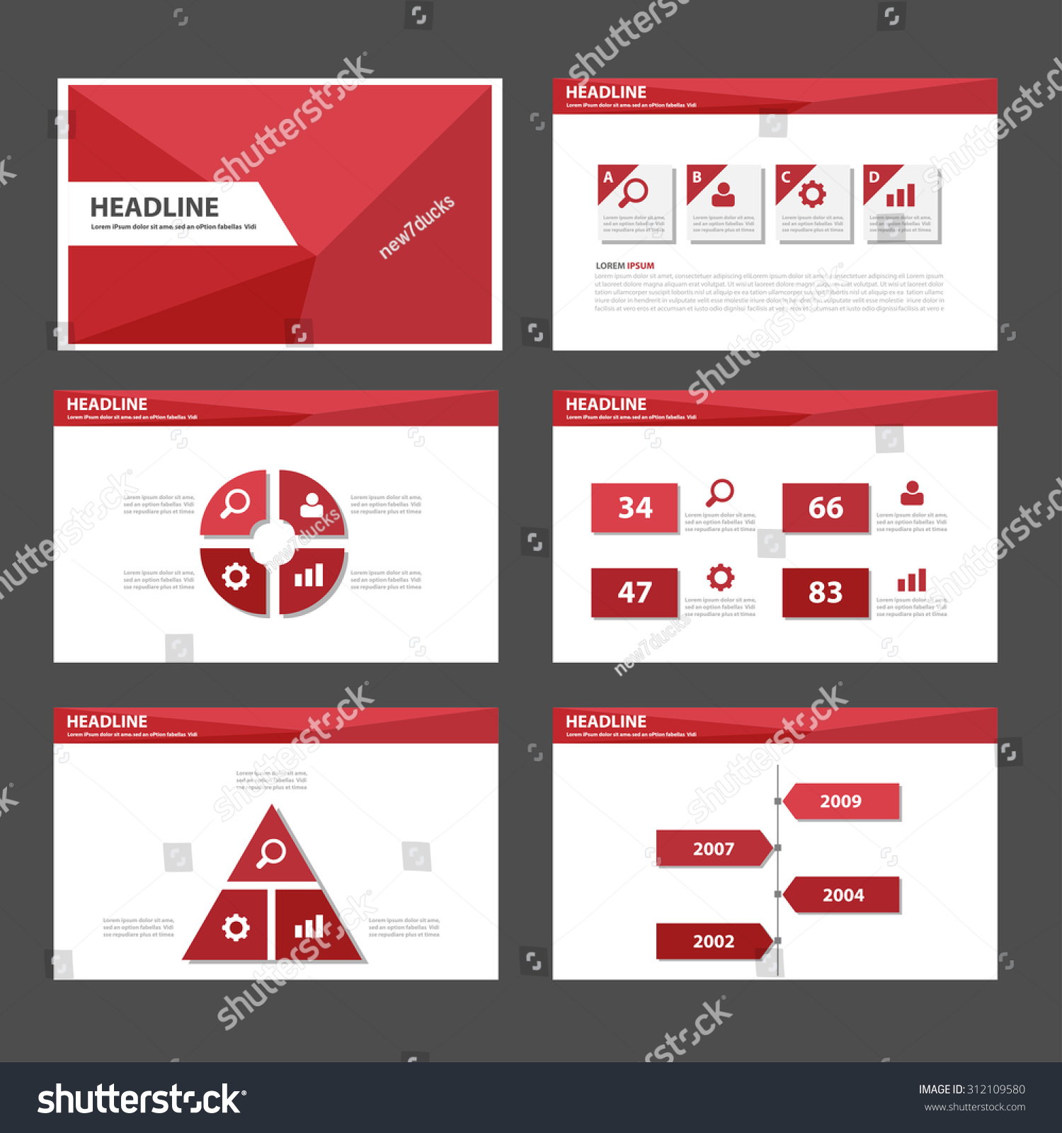 Red polygon Multipurpose infographic Presentation template flat design set for advertising marketing web brochure flyer leaflet