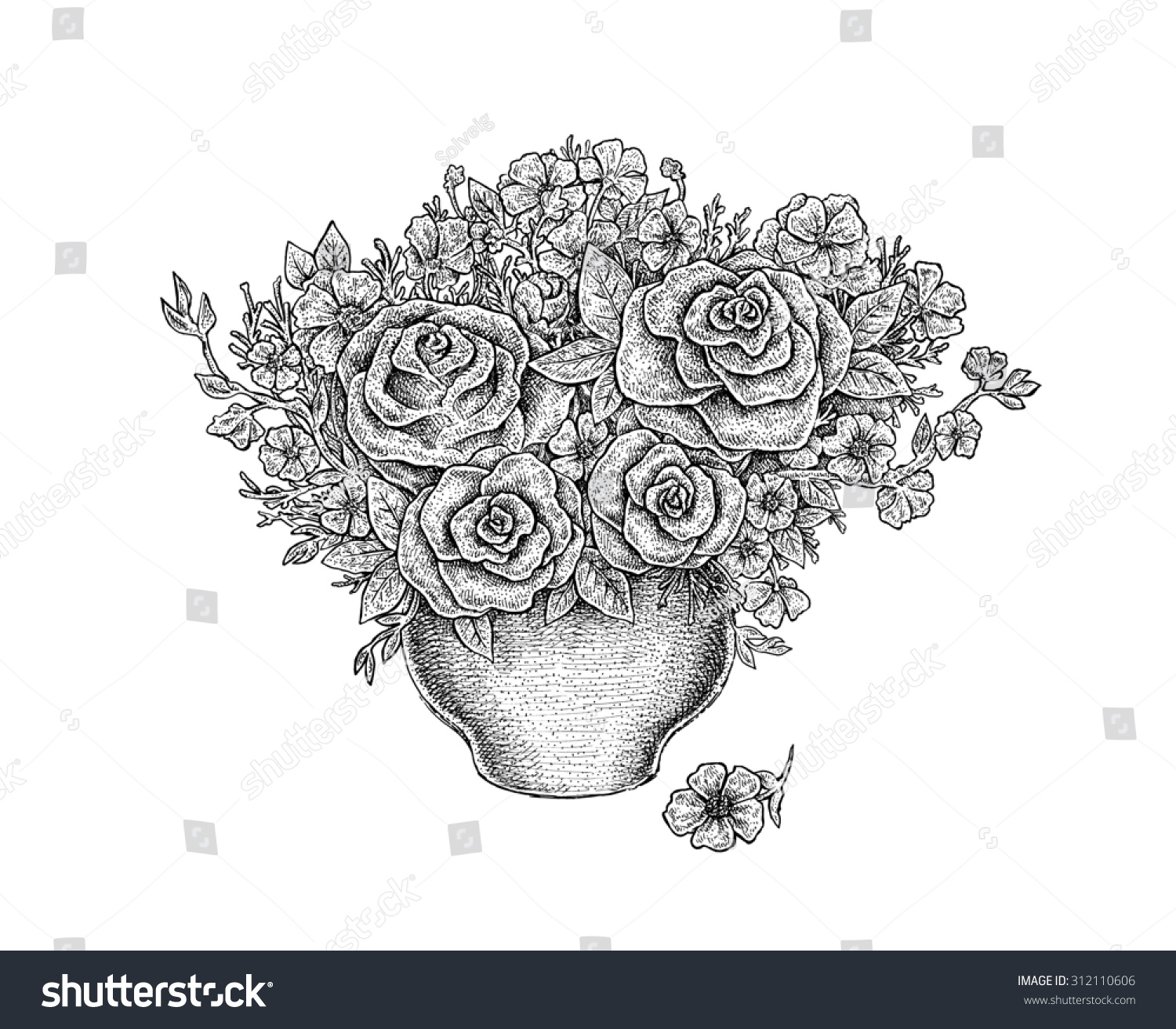 Black white ink drawing flower bouquet stock illustration 312110606 black and white ink drawing of a flower bouquet in a vase raster artwork izmirmasajfo