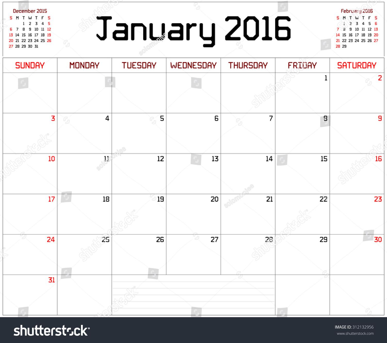 January Calendar Planner : Year january planner monthly stock vector