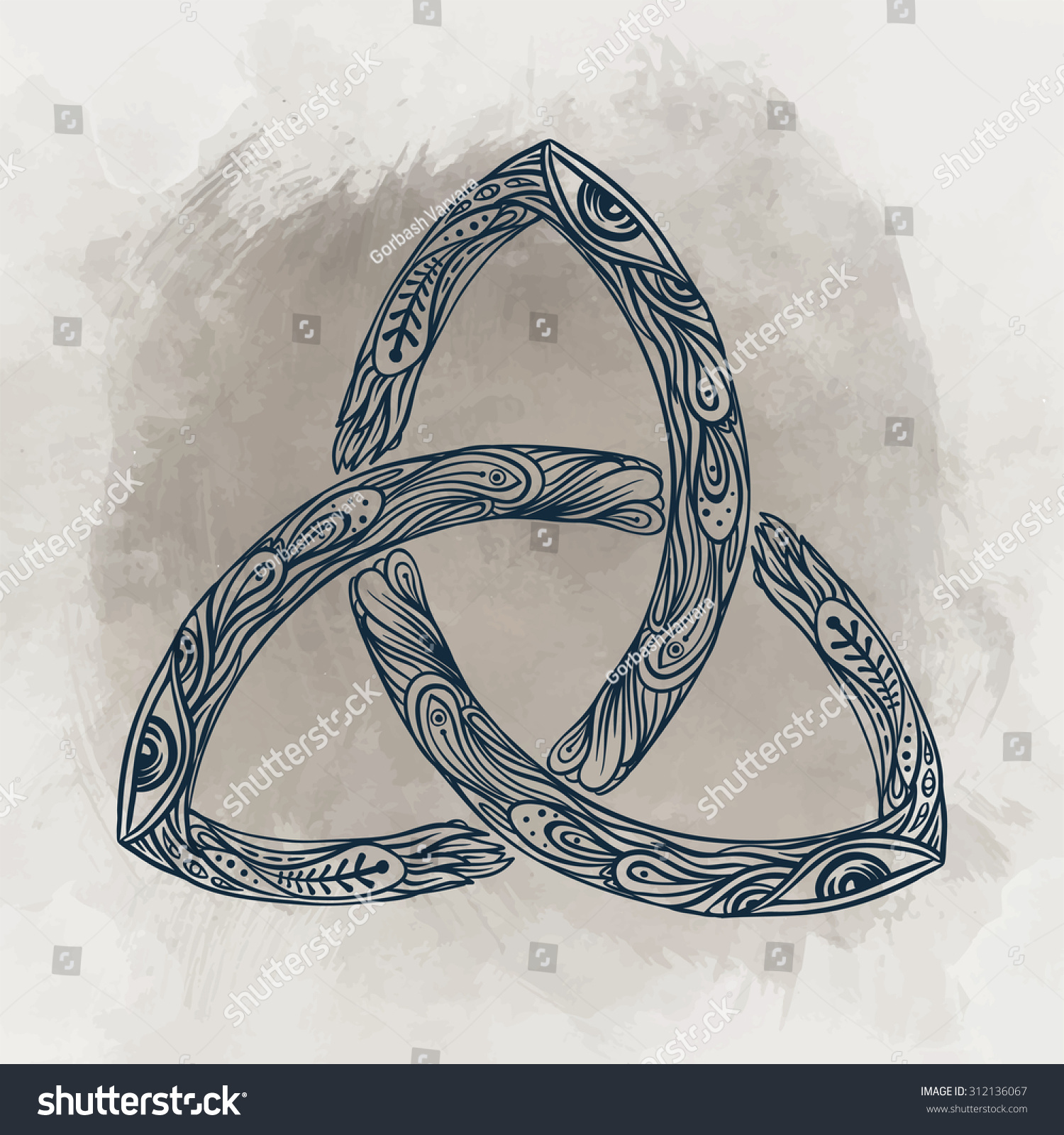 Triquetra Celtic Body Mind Spirit Symbol Stock Vector Royalty Free