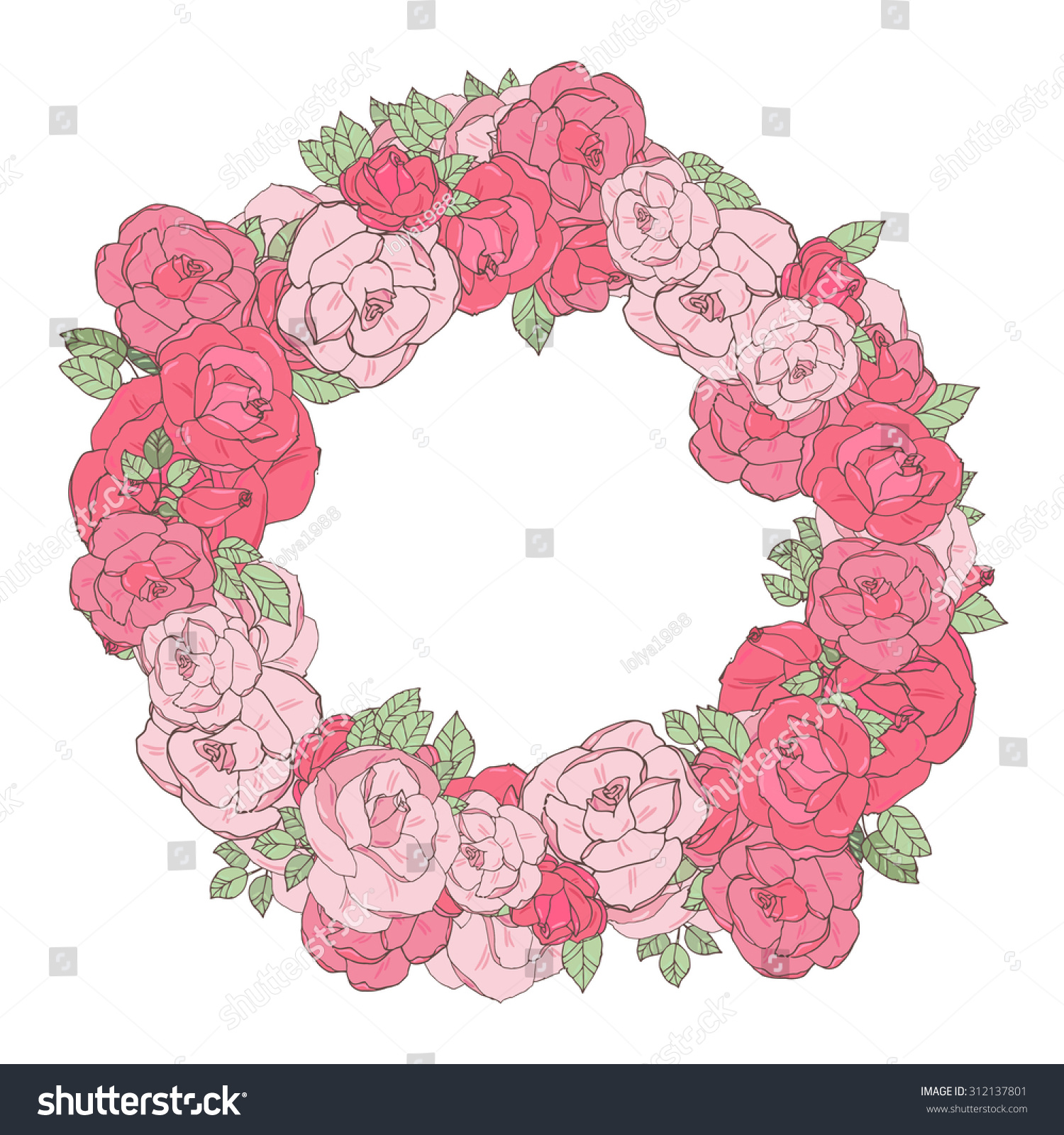 Pink Floral Wreath Roses Frame Flowers Stock Vector 312137801