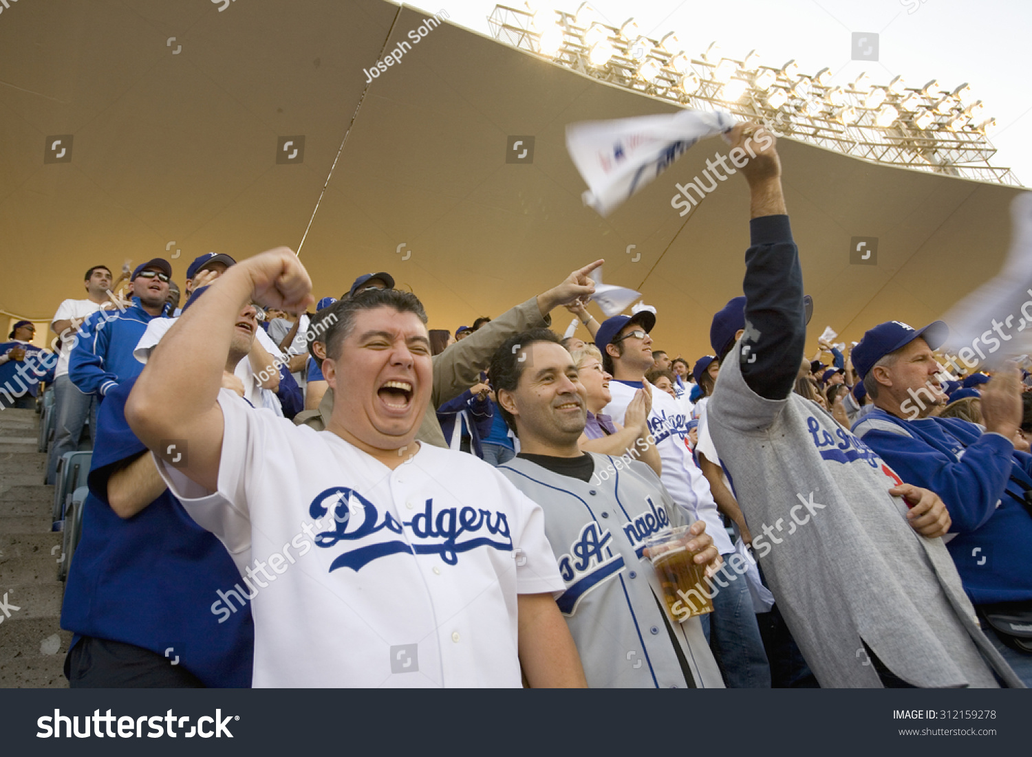 Dodger Fans Cheering During National League Stock Photo