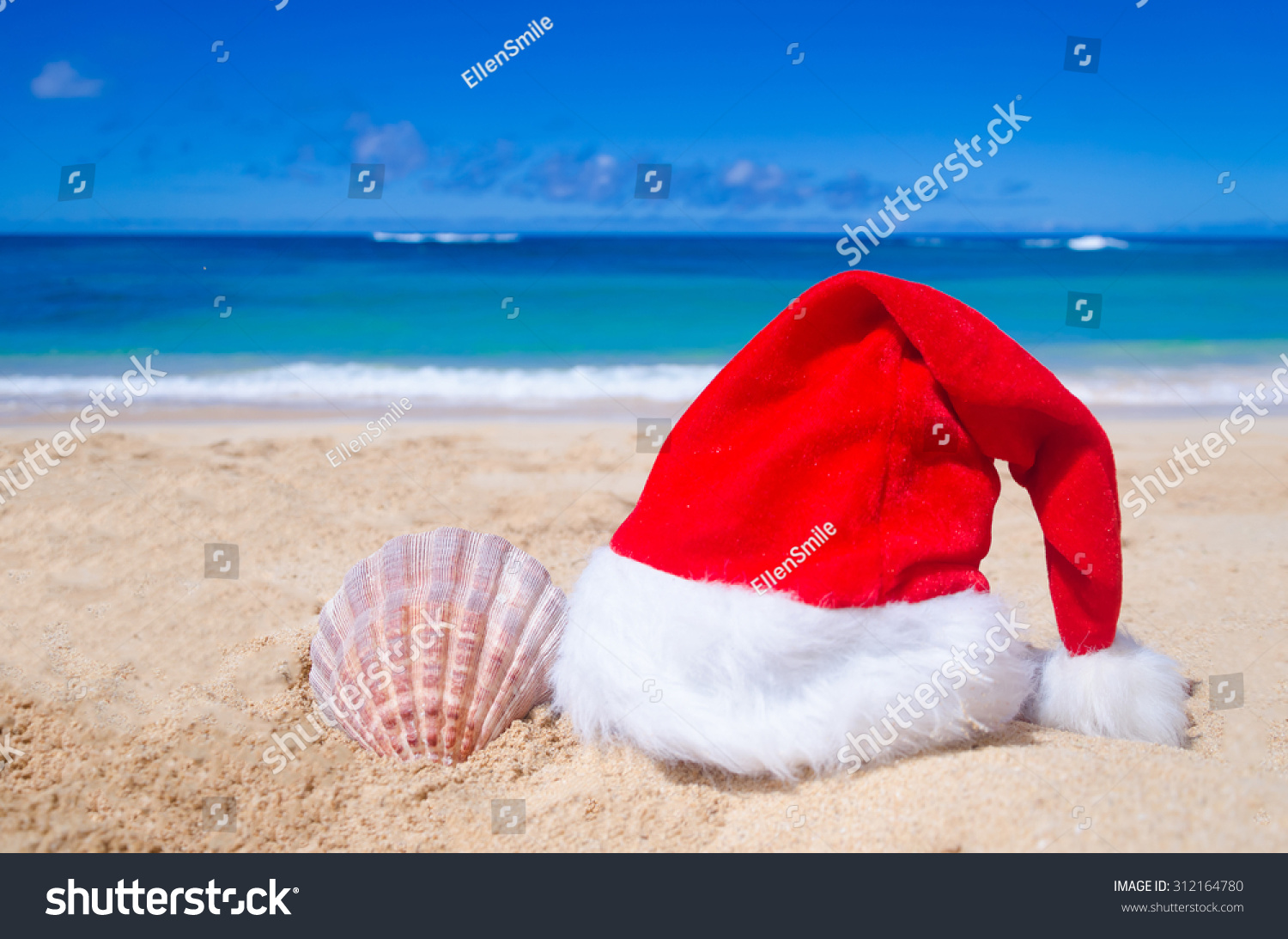 Merry Christmas and Happy New Year background with Santa Claus Hat and seashell on the tropical beach near ocean in Hawaii #312164780