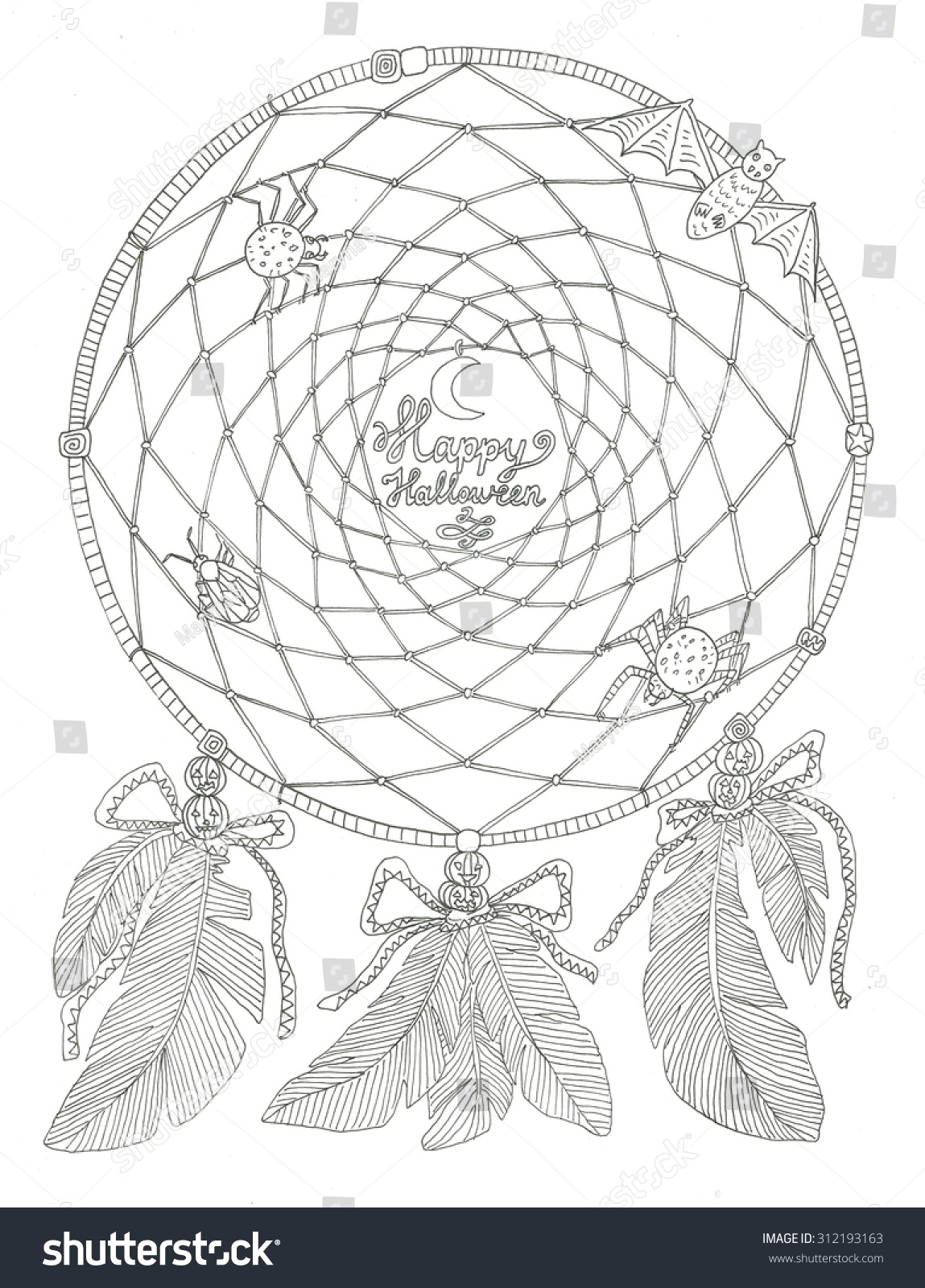 Coloring pages dream catchers - Halloween Dream Catcher Coloring Page