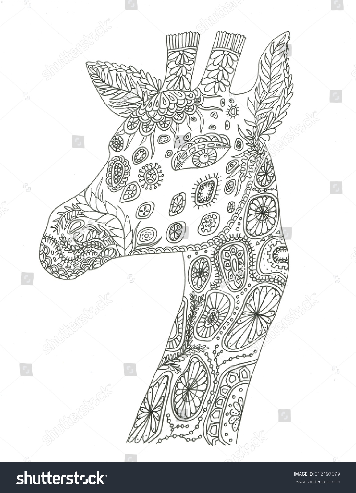 Coloring pages giraffe - Giraffe Portrait Coloring Page