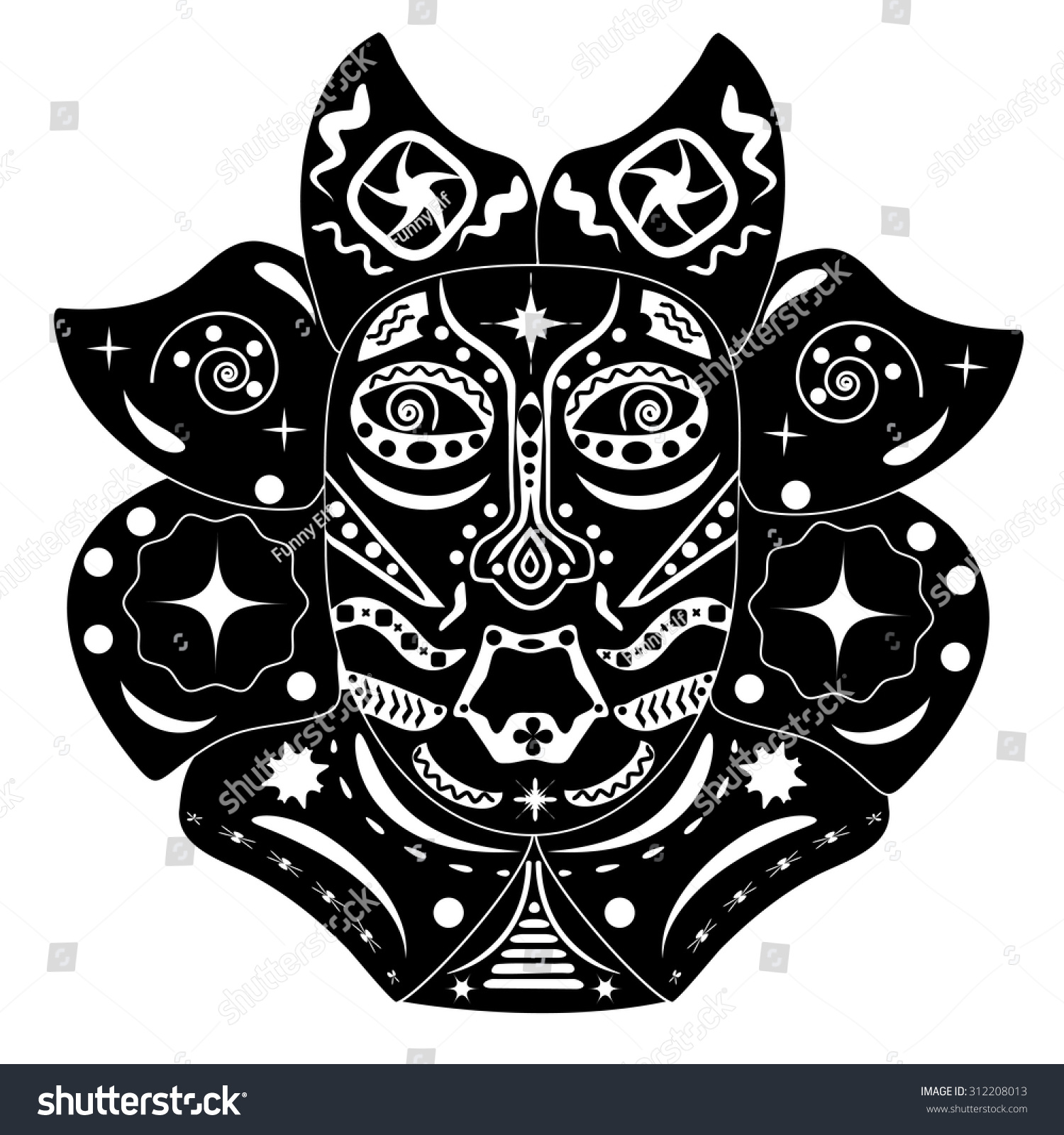 black white mask native american african stock vector 312208013