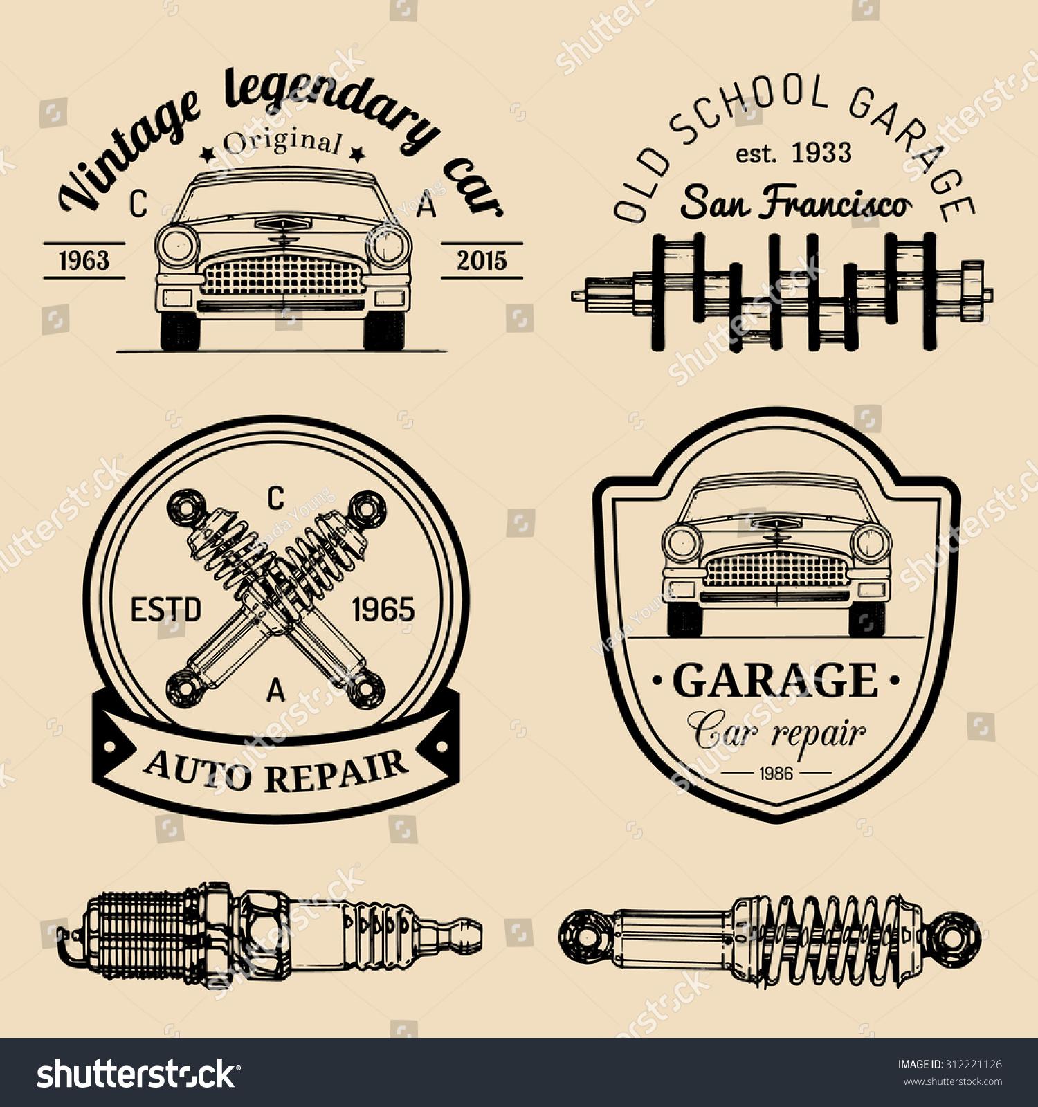 Vector set vintage sketched garage logos stock vector for Garage fix auto nimes