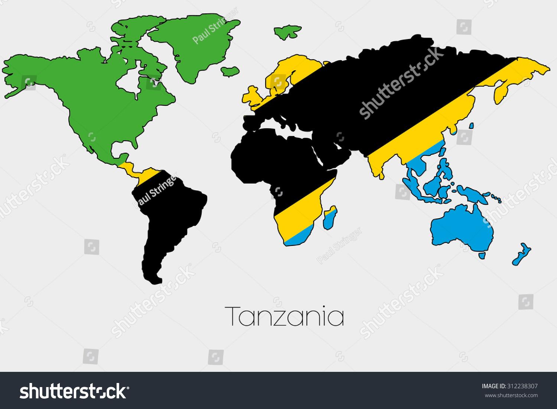 Flag Illustration Inside Shape World Map Stock Vector - World map shape