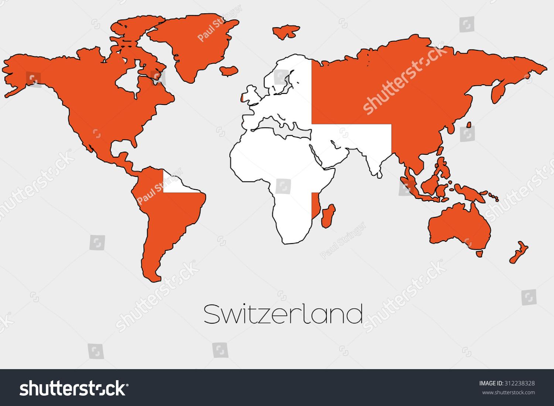 Flag illustration inside shape world map stock vector 312238328 a flag illustration inside the shape of a world map of the country of switzerland gumiabroncs Images