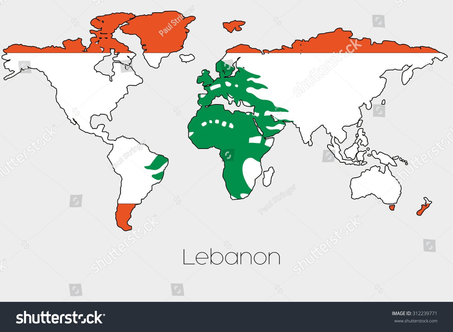 Flag illustration inside shape world map stock vector 312239771 a flag illustration inside the shape of a world map of the country of lebanon sciox Gallery