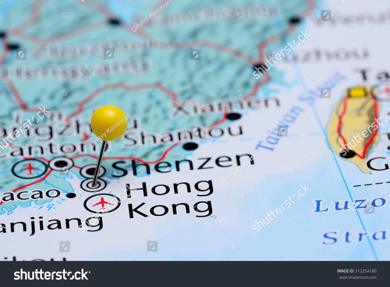 Map Of Asia Hong Kong.Hong Kong Pinned On Map Asia Stock Photo Edit Now 312254180