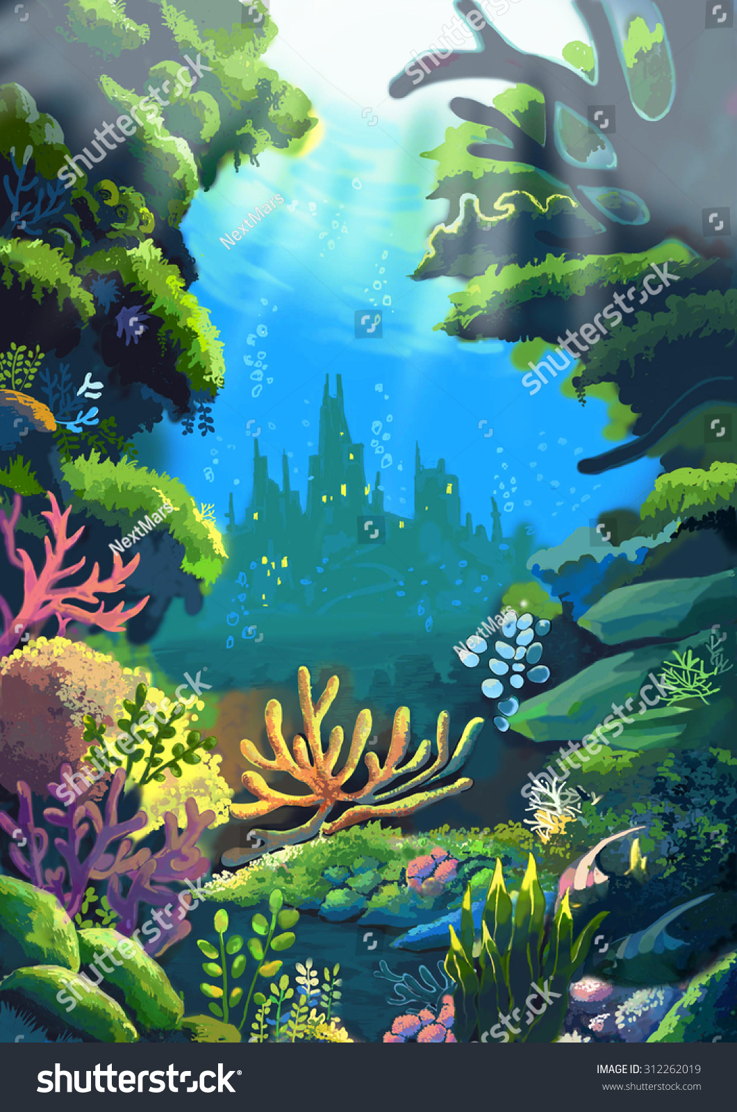 Illustration Sea Where Little Mermaids Father Stock ...