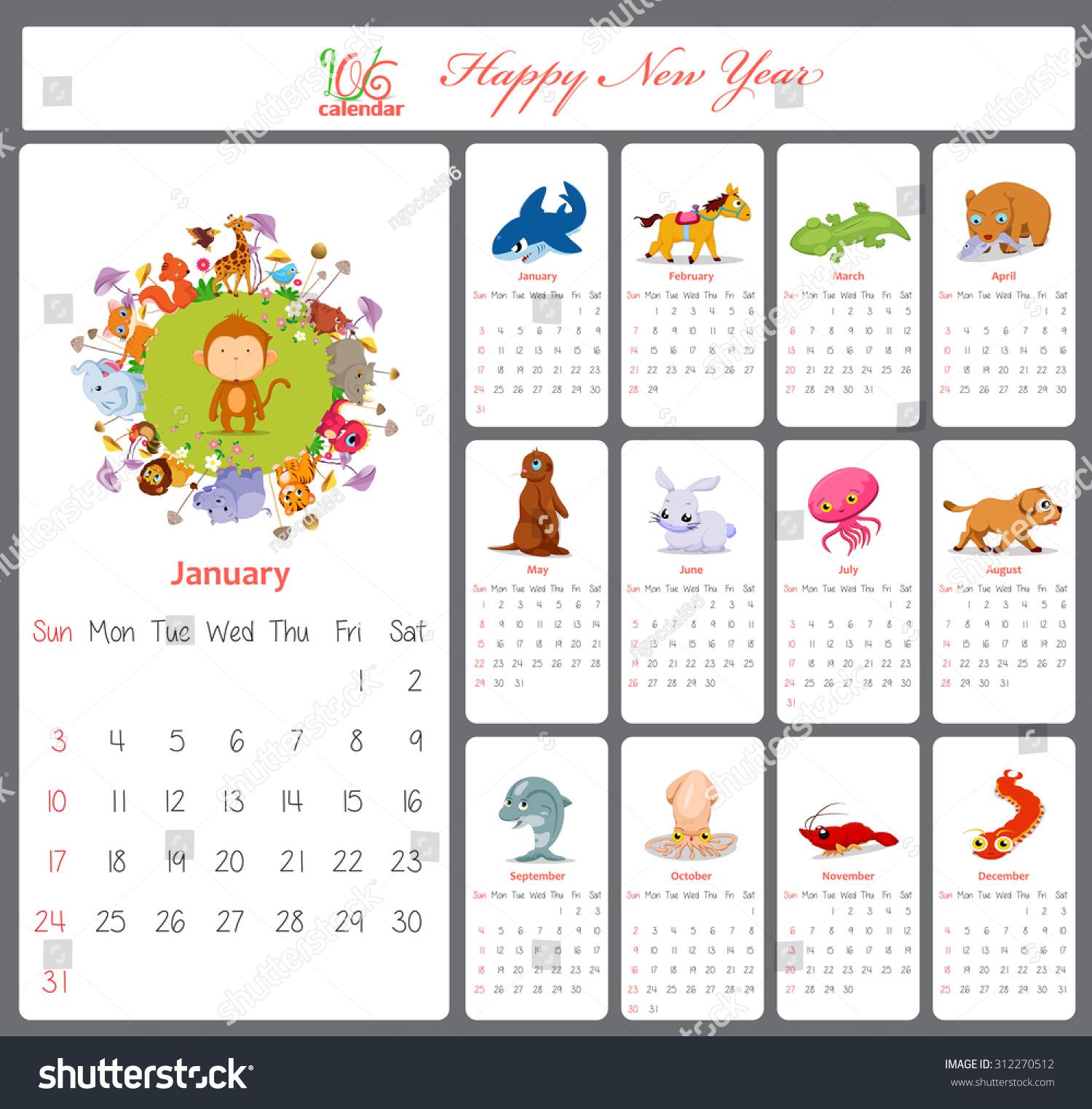 Calendar Illustration List : Unusual calendar cartoon funny animals stock
