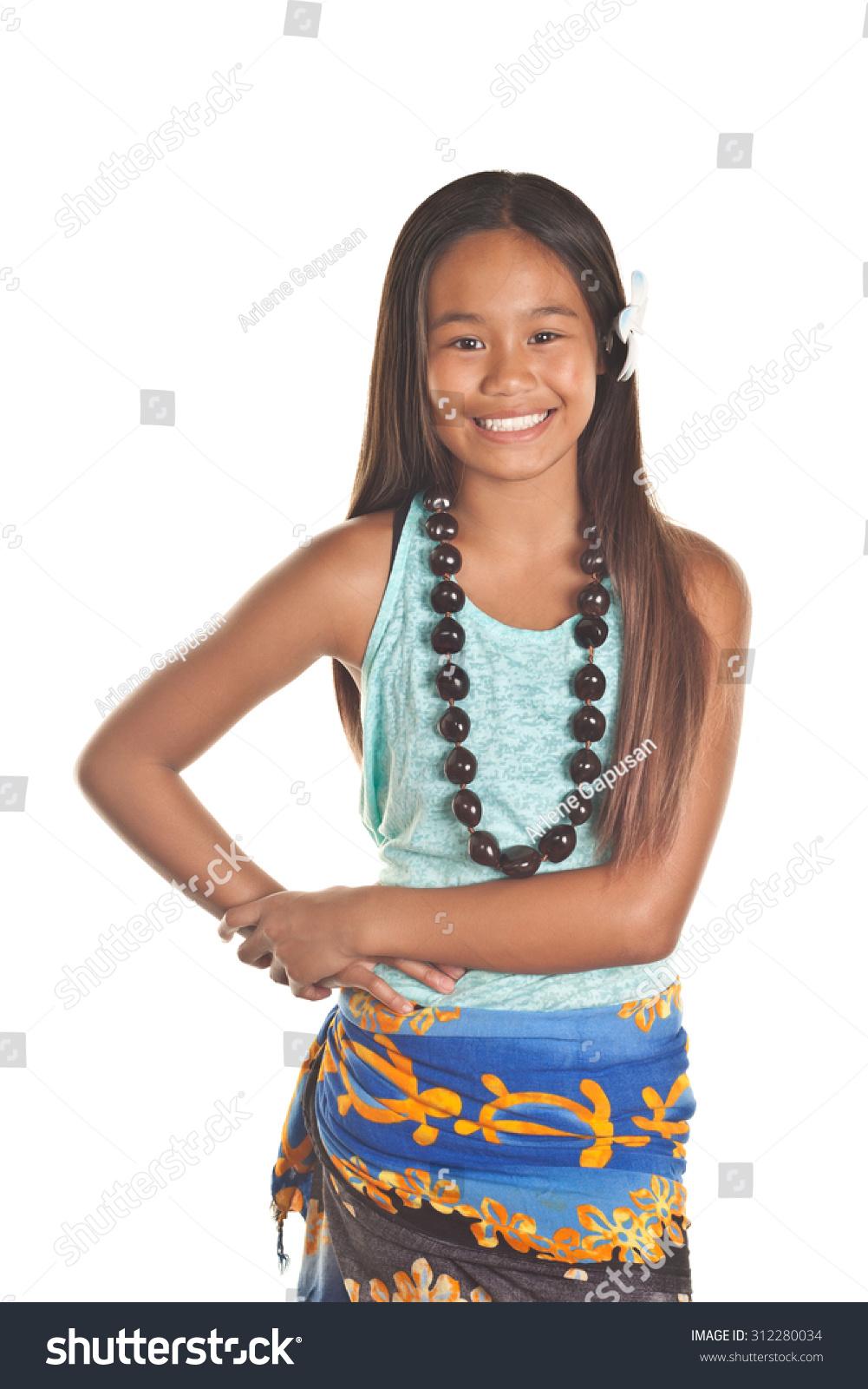 Tween Girl Wearing A Hula Dance Wrap And Kukui Royalty Free Stock Photo 312280034 Avopix Com