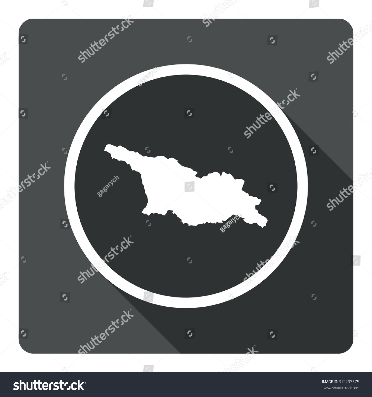 Georgia Map Dark Sign Icon Country Stock Vector - Georgia map geography