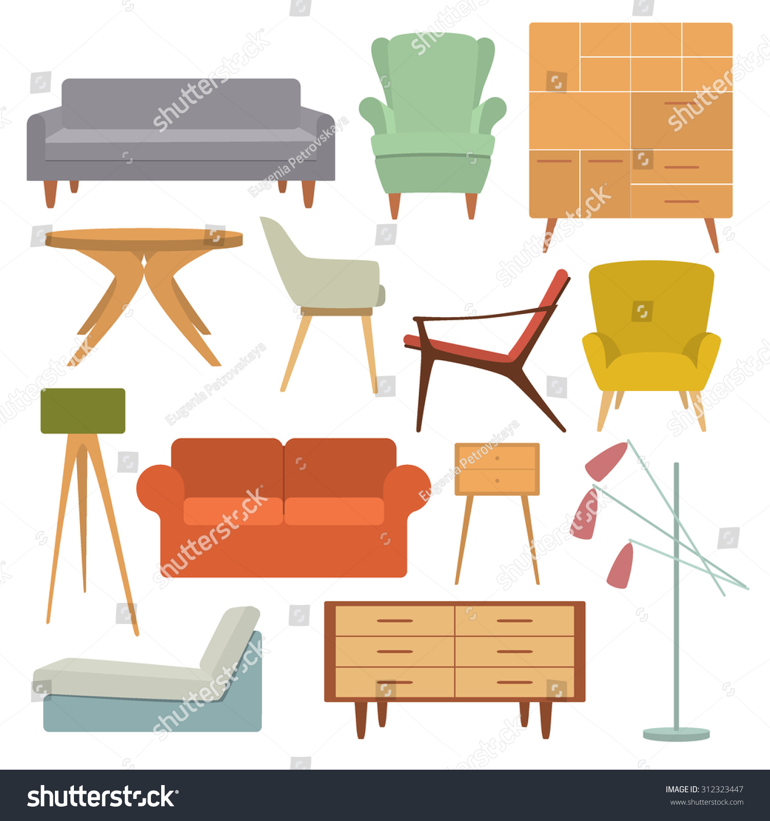 Vector illustration of living room furniture in mid century modern style beautiful design elements