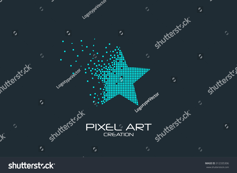 Pixel Art Design : Pixel art design star logo stock vector