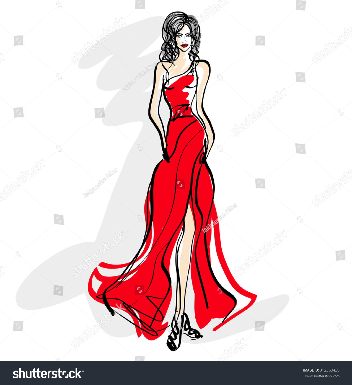 Girl in evening dress , sketch , vector, model , fashion | EZ Canvas