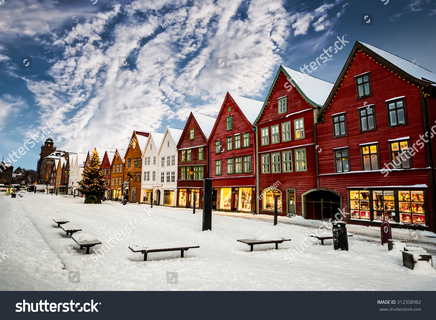 Famous Bryggen Street With Wooden Colored Houses In Bergen ...