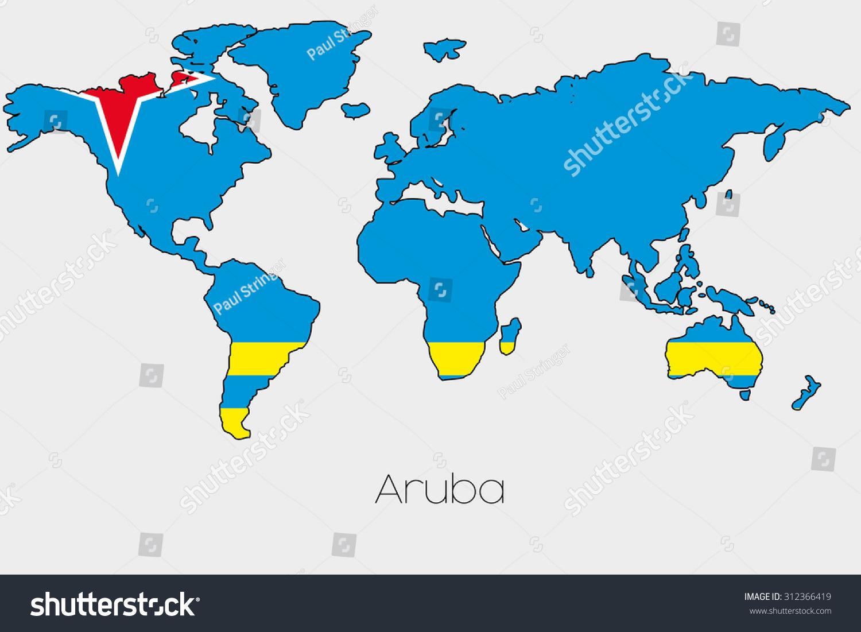 Flag Illustration Inside Shape World Map Stock Vector 312366419
