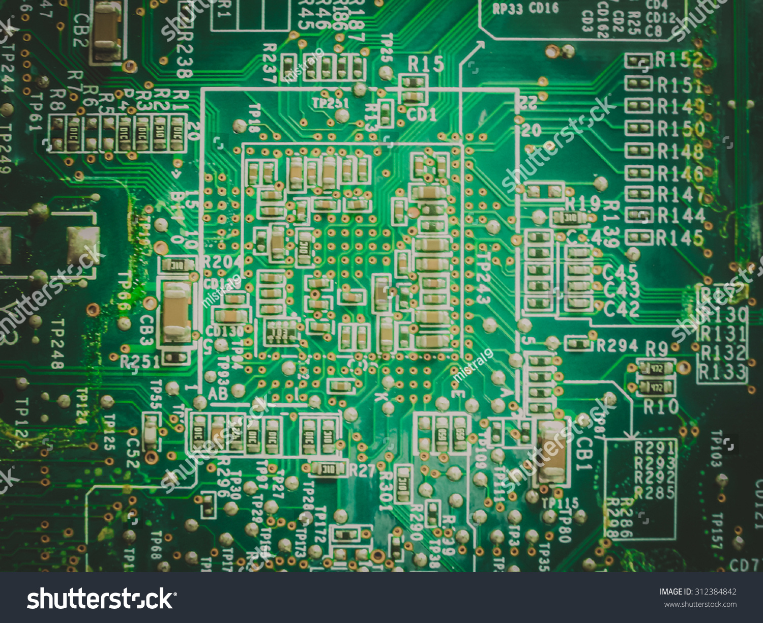 Big Electronic Circuit Board Radio Components Stock Photo Edit Now Pcb Printed 13 Royalty Free Photos Image With Soldered On A Green