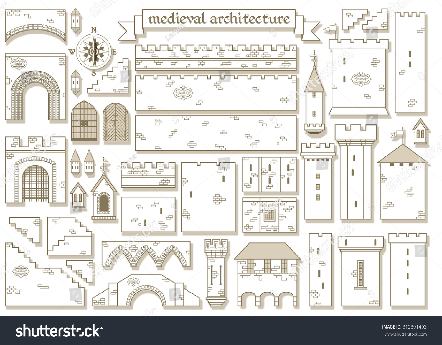 Vector Illustration: Graphic Architectural Elements Of The Middle Ages  Royal Castle   Make A Design