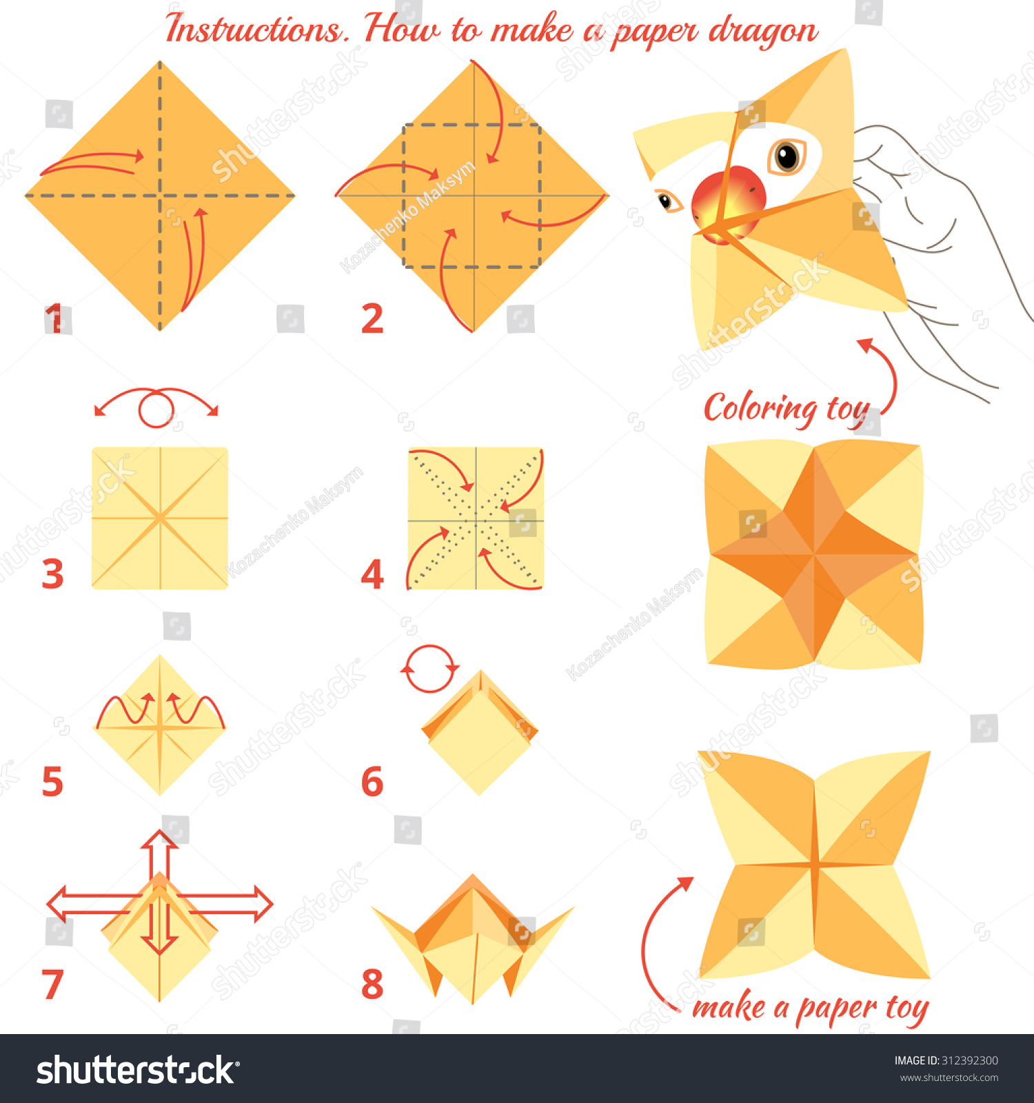 Origami paper bird. Instructions for assembly stock photo, picture.