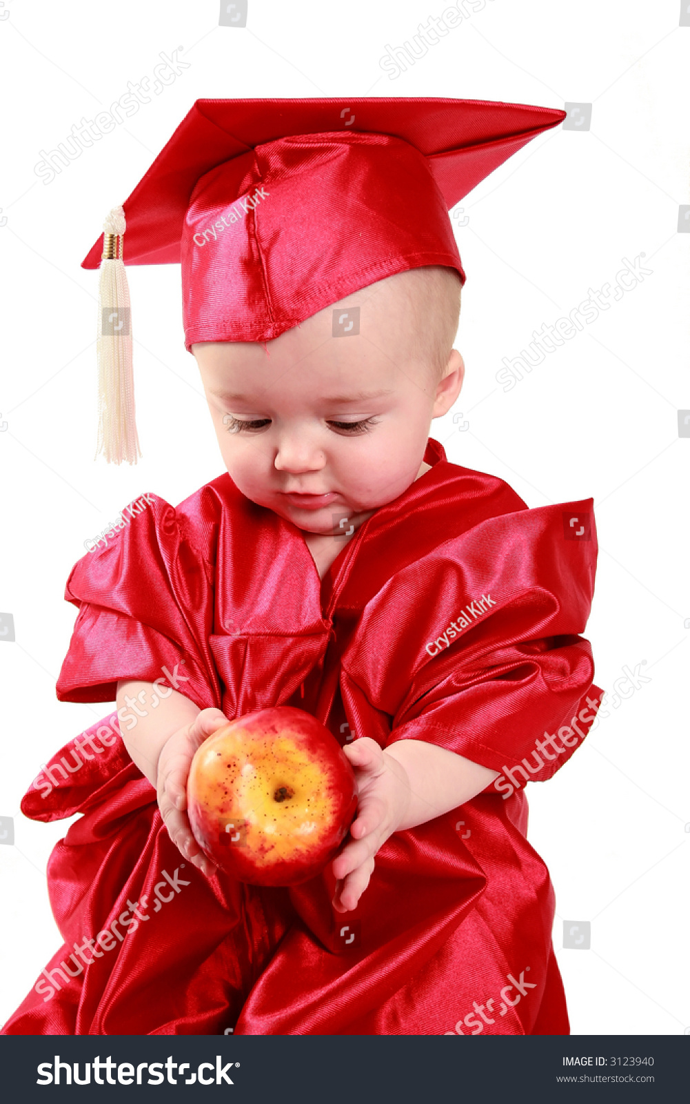 Adorable Baby Red Cap Gown Stock Photo (Royalty Free) 3123940 ...