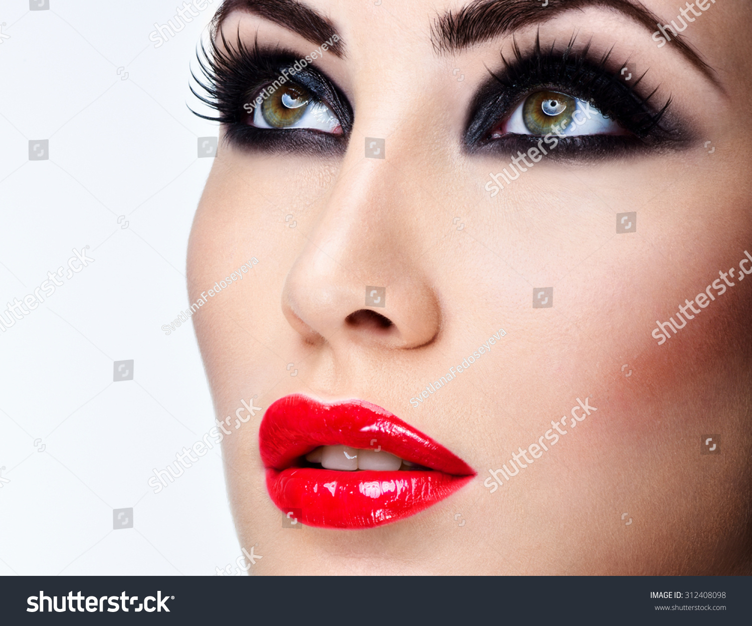 Beauty Woman Portrait Professional Makeup Red Stock Photo ...